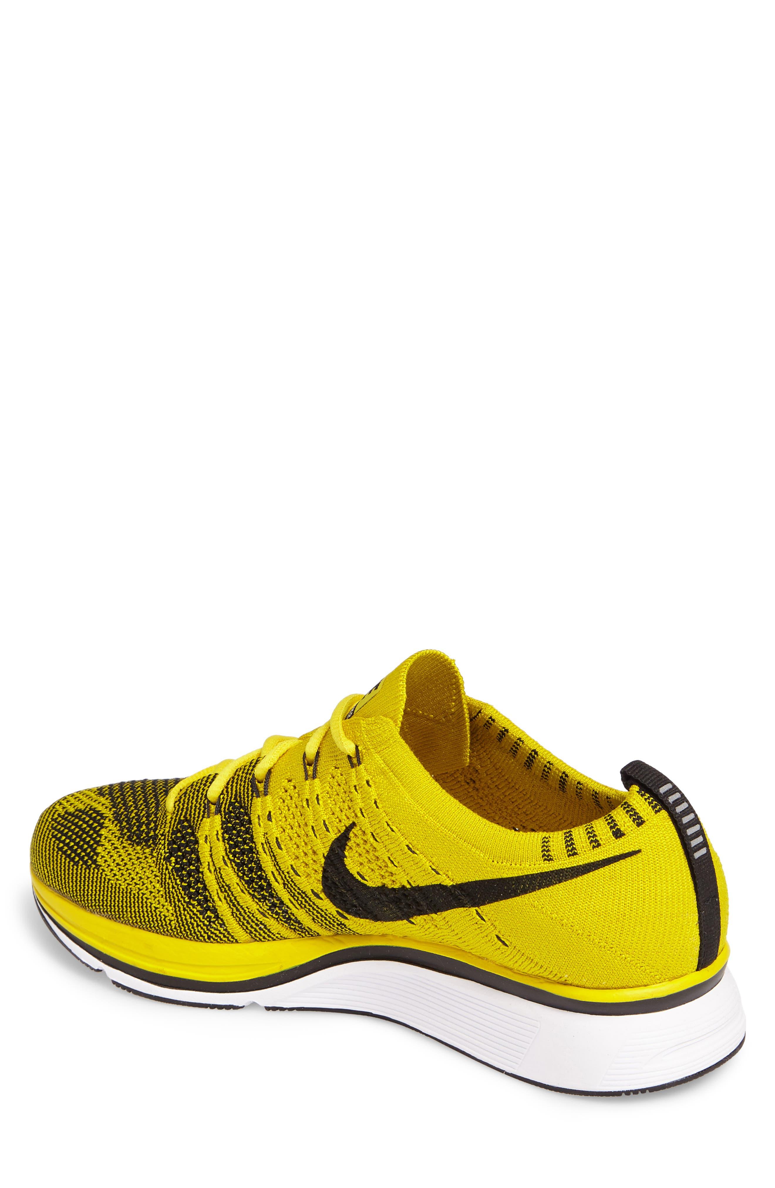 NikeLab Flyknit Trainer Sneaker,                             Alternate thumbnail 2, color,                             Bright Citron/ Black/ White