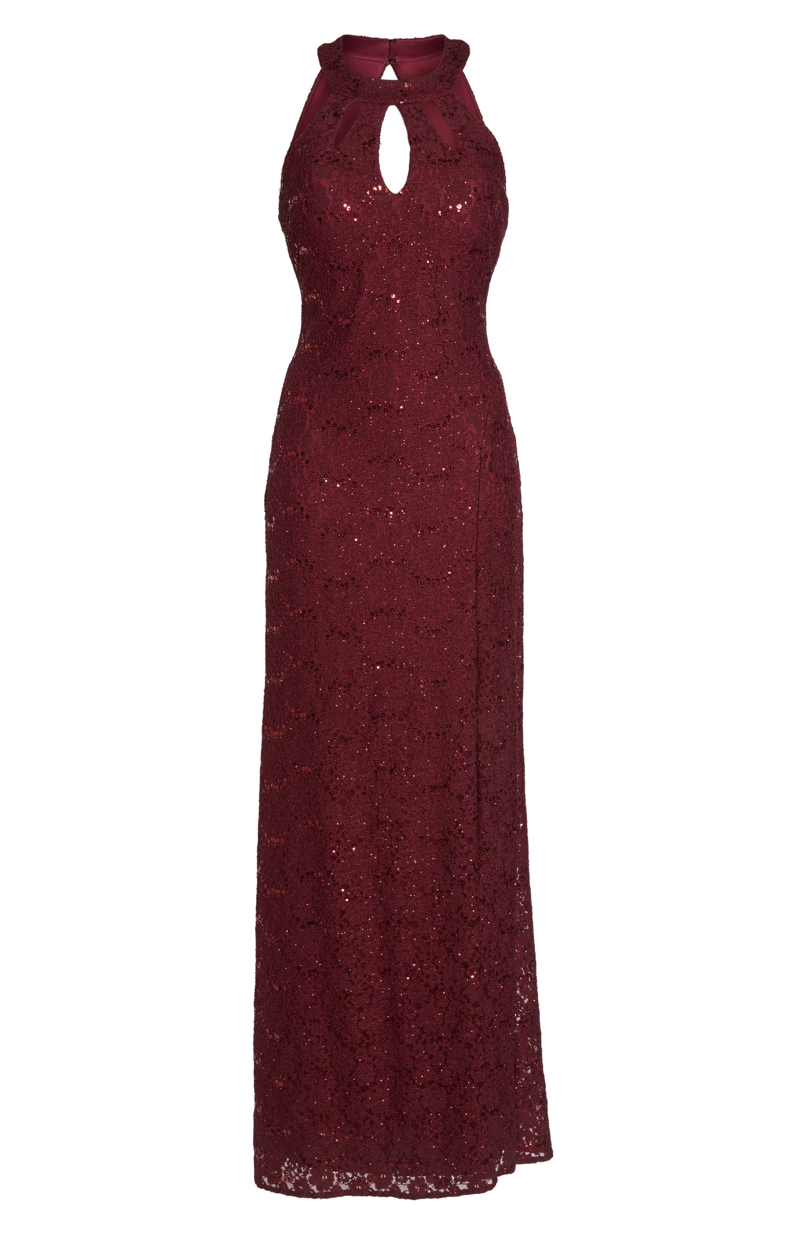 Keyhole Lace Column Gown,                             Alternate thumbnail 6, color,                             Merlot