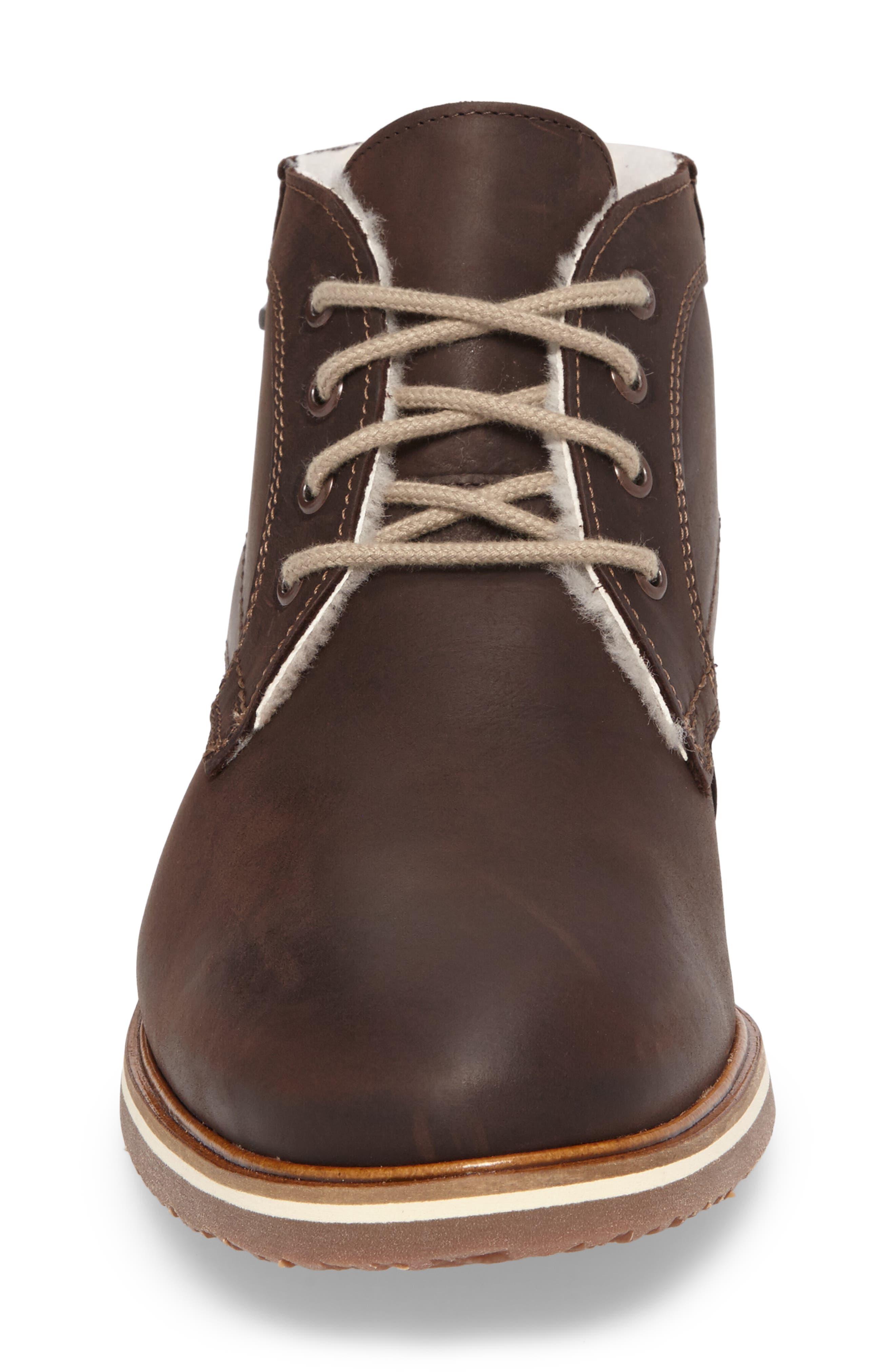 Varus Waterproof Shearlng Lined Chukka Boot,                             Alternate thumbnail 4, color,                             Ebony Leather