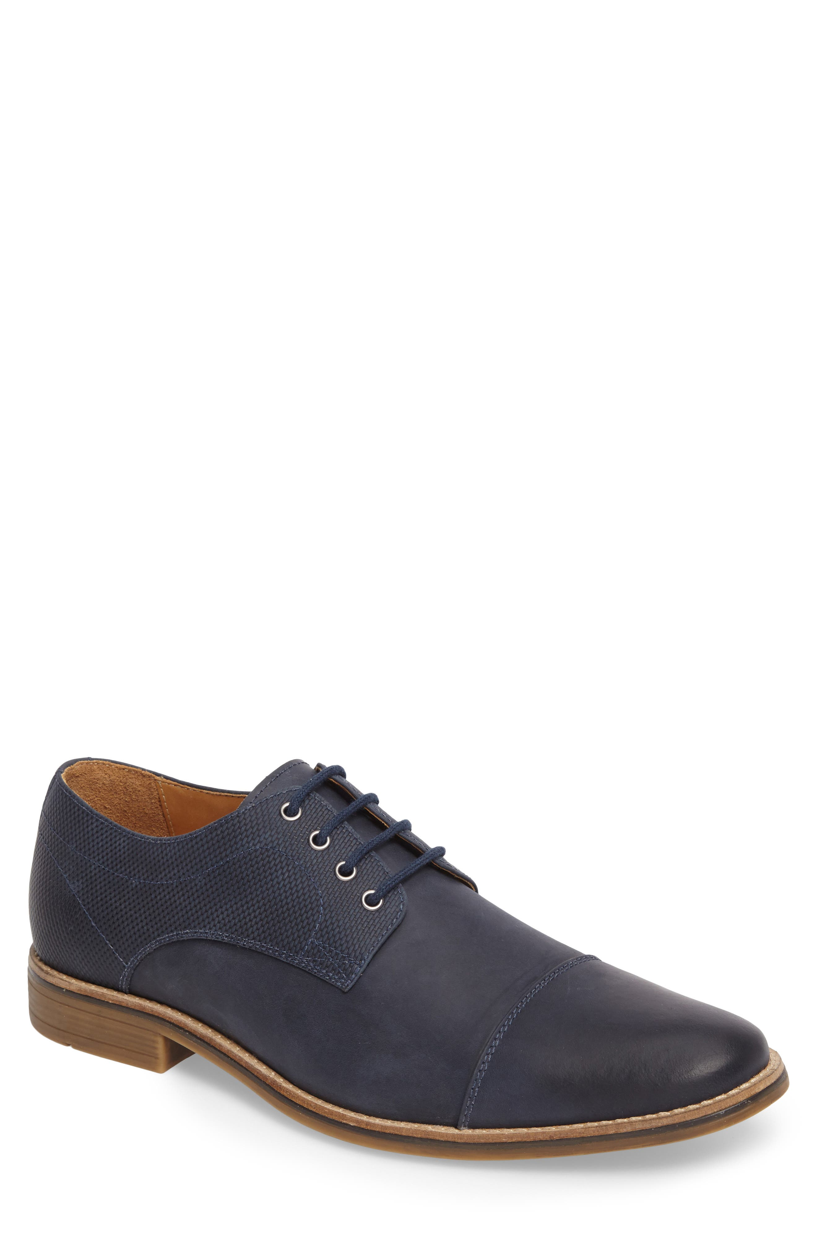 Goleta Cap Toe Derby,                         Main,                         color, Navy Leather