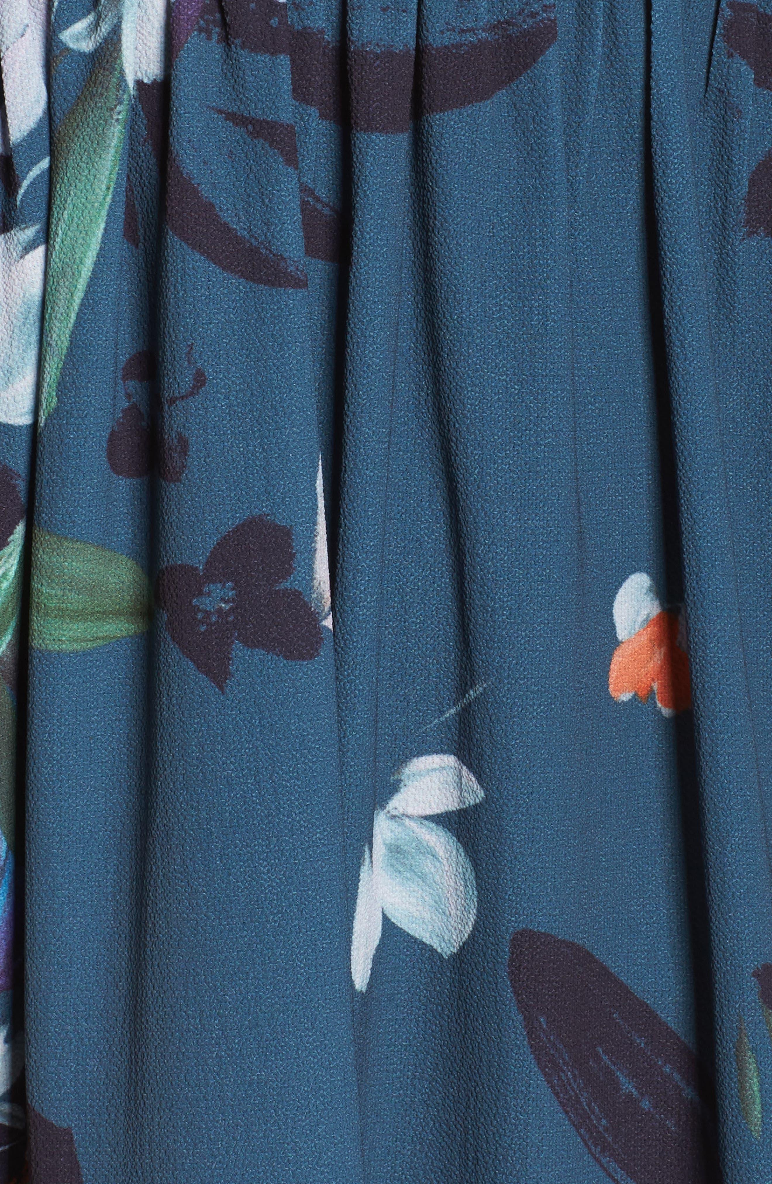 Celia Midi Dress,                             Alternate thumbnail 5, color,                             Deep Teal Multi