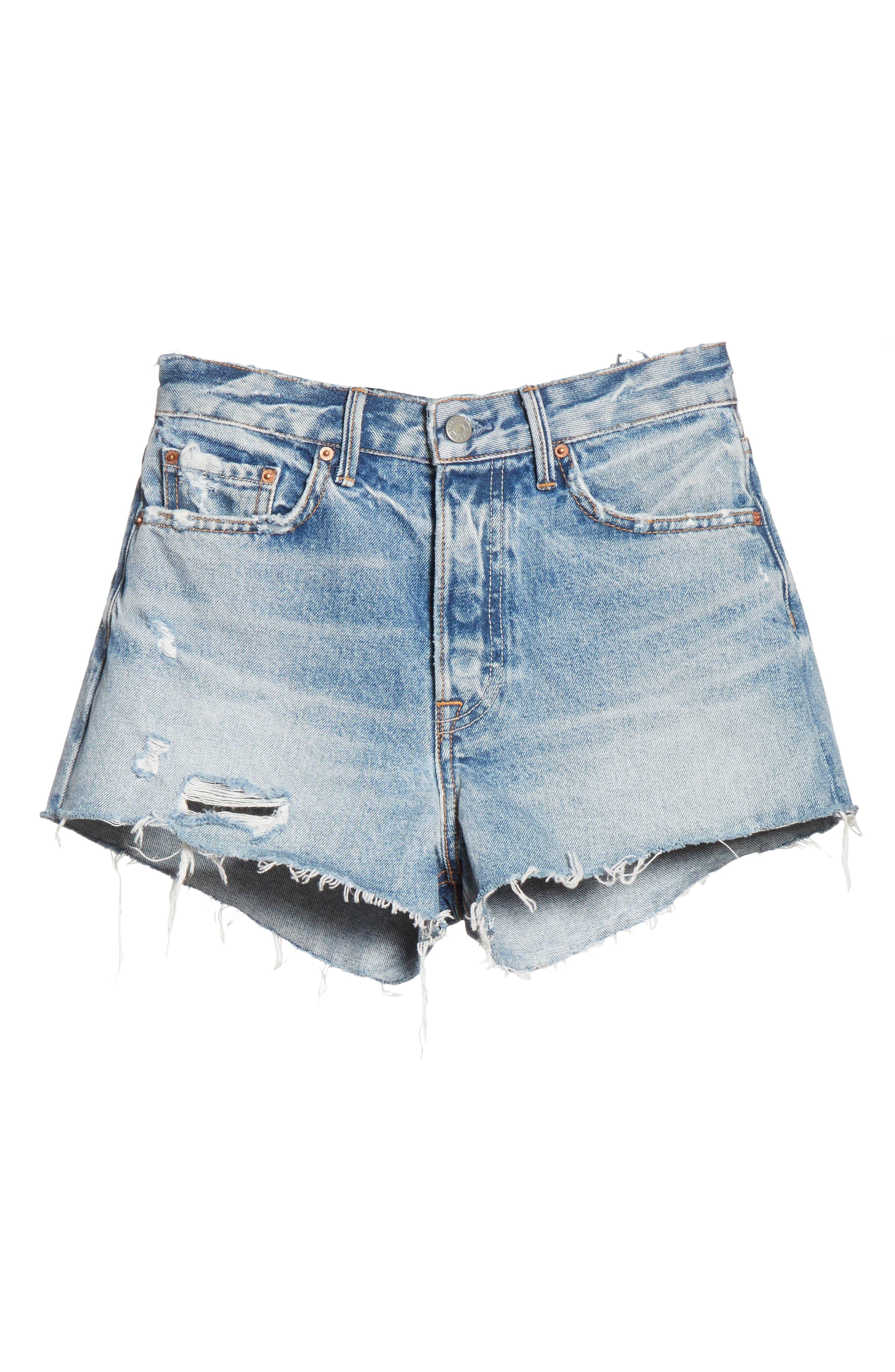 Cindy Rigid High Waist Denim Shorts,                             Alternate thumbnail 6, color,                             Stoned G601