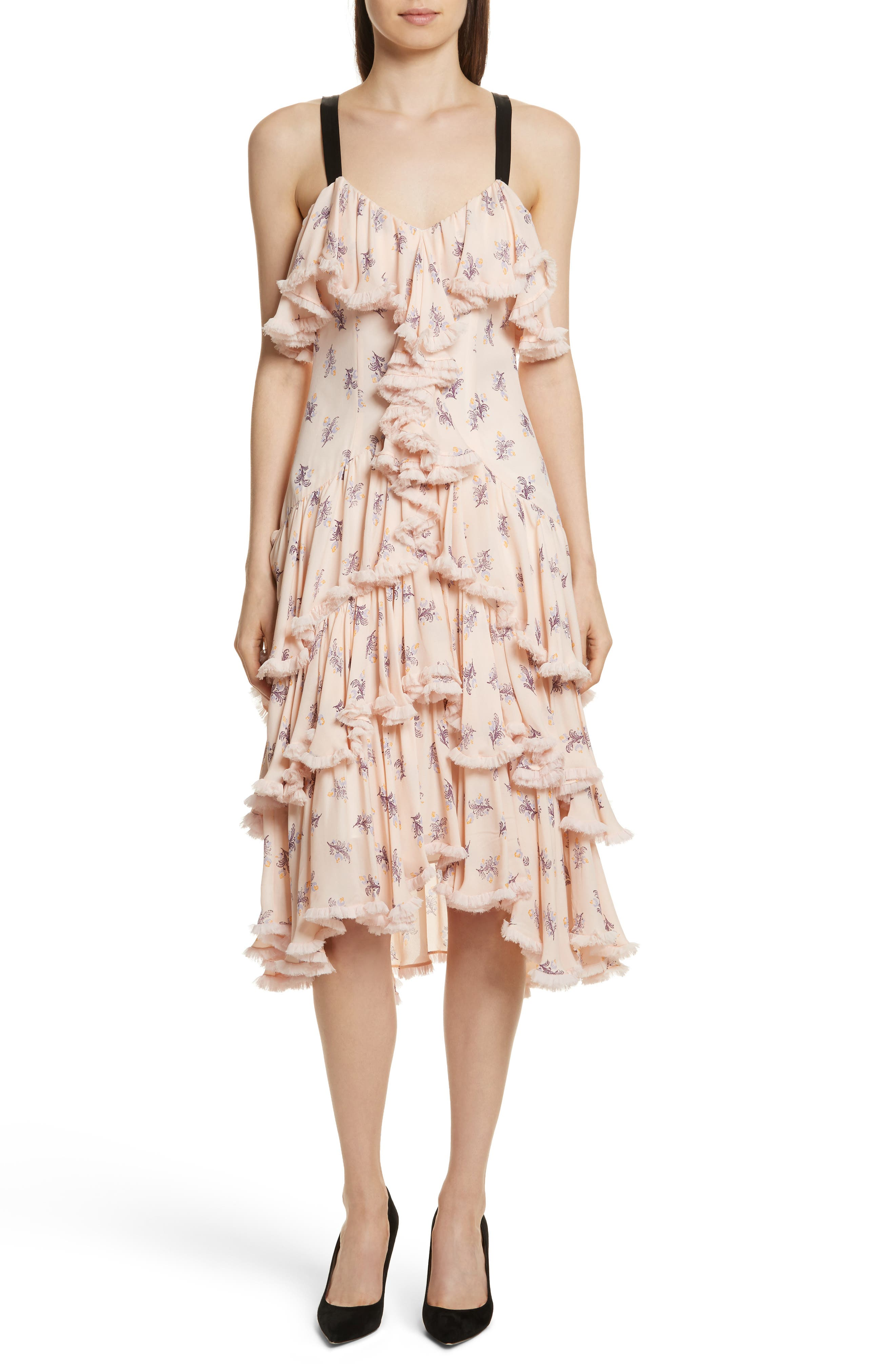 Edie Floral Print Tiered Silk Dress,                             Main thumbnail 1, color,                             Pearl Blush Multi