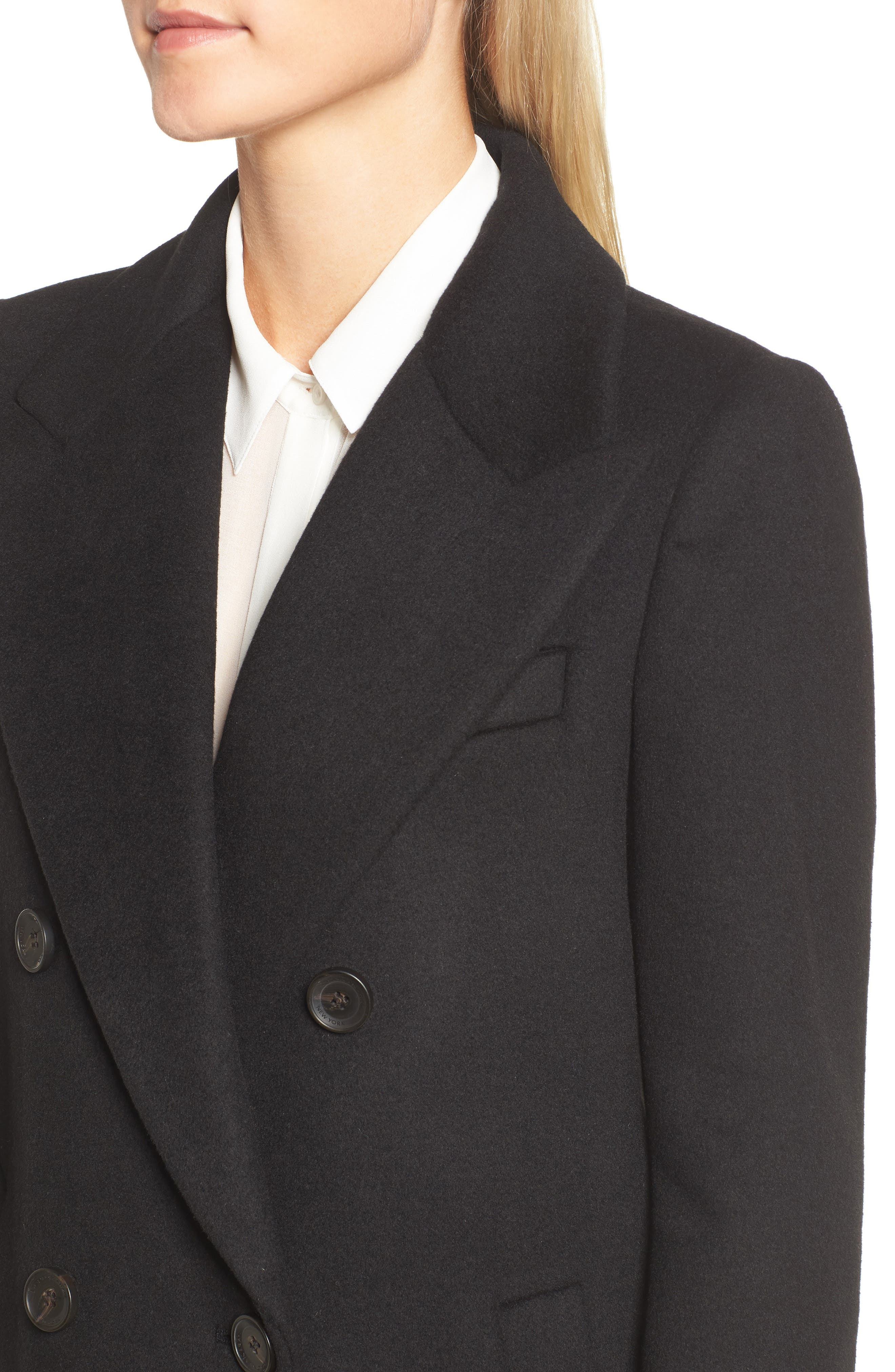 DKNY Lavish Wool Blend Coat,                             Alternate thumbnail 4, color,                             Black