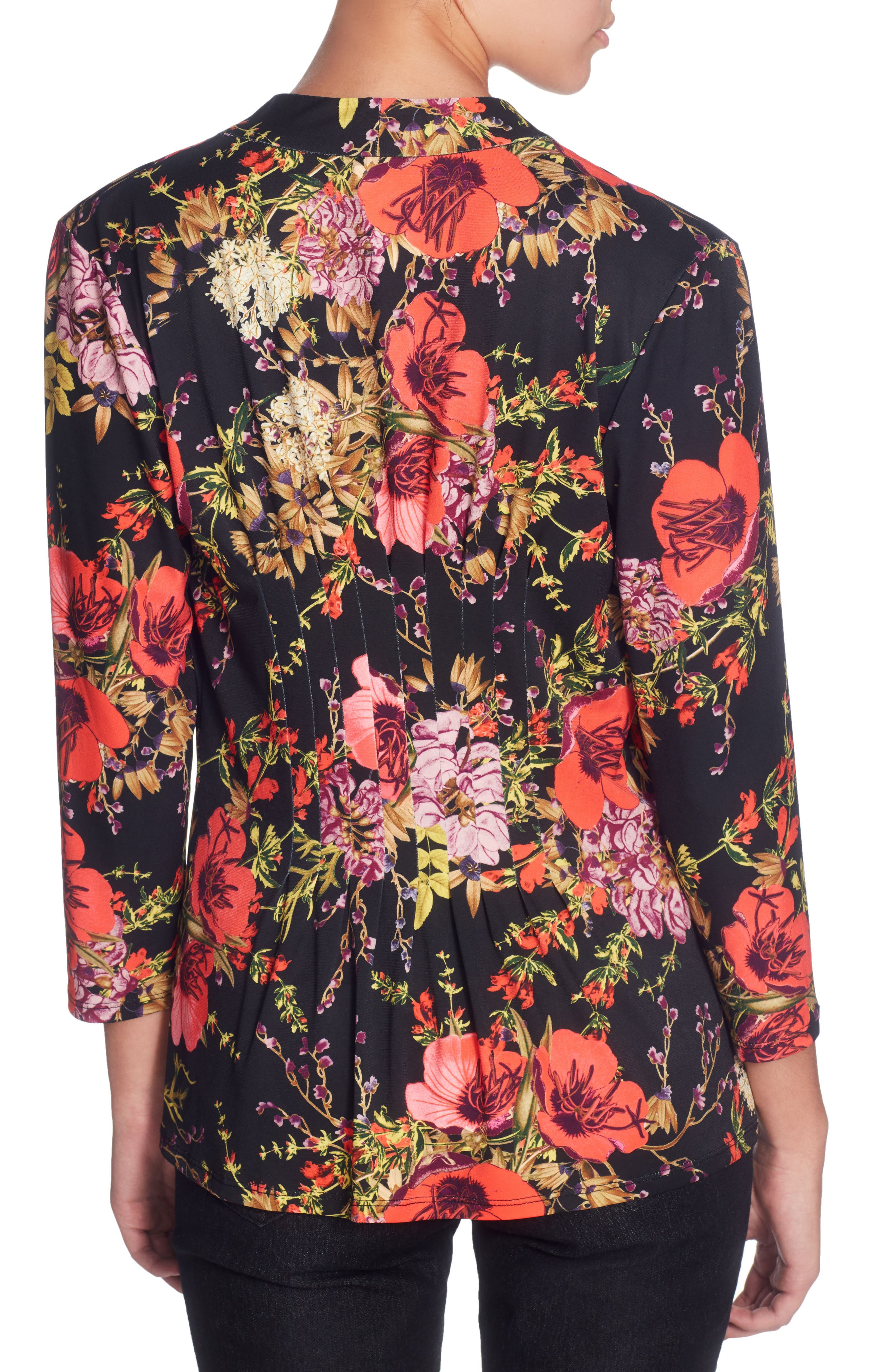 Rea Floral Print Top,                             Alternate thumbnail 2, color,                             Ethereal Garden Black