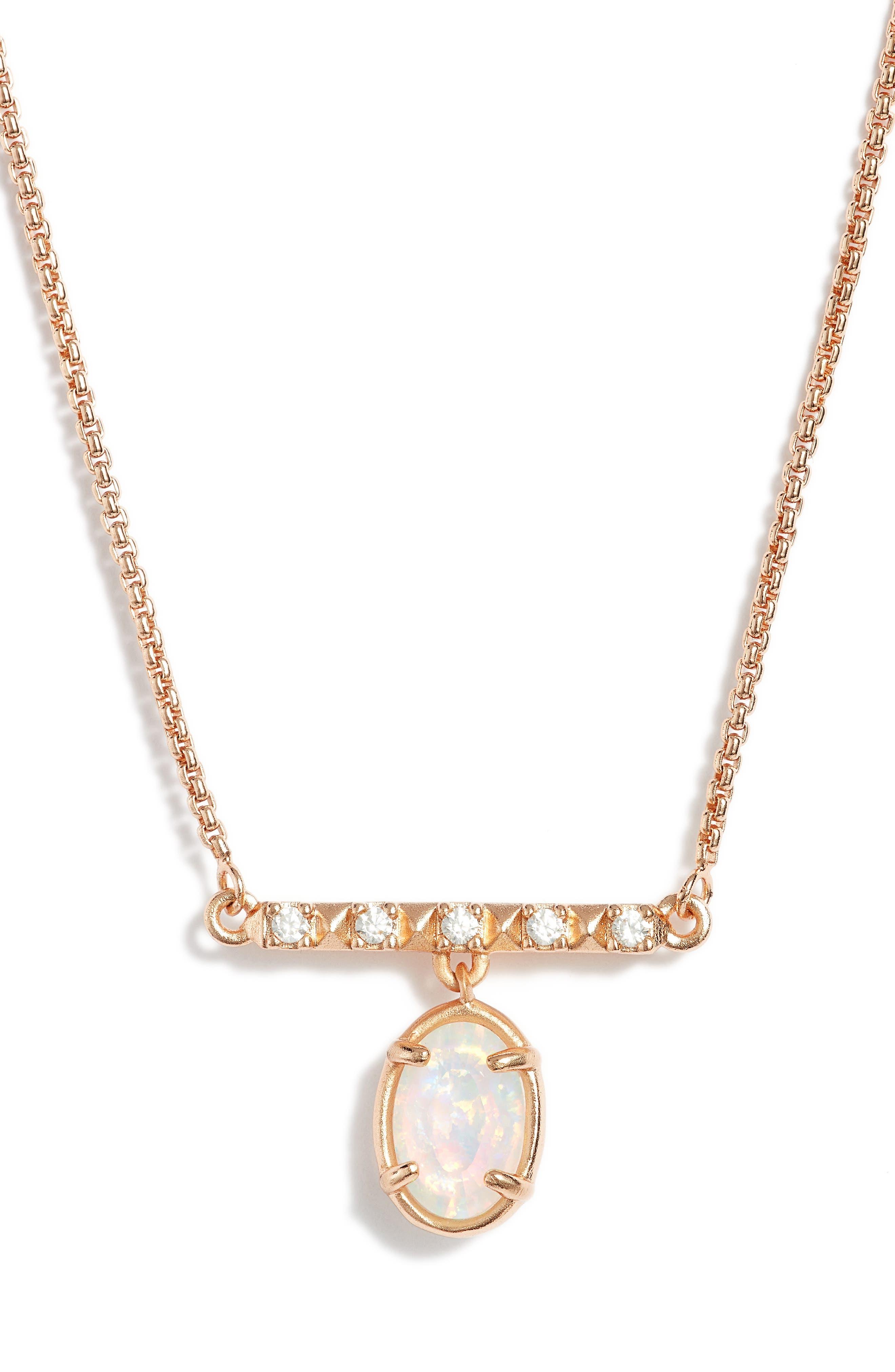 Fischer Opal Pendant Necklace,                             Main thumbnail 1, color,                             White Opal/ Rose Gold