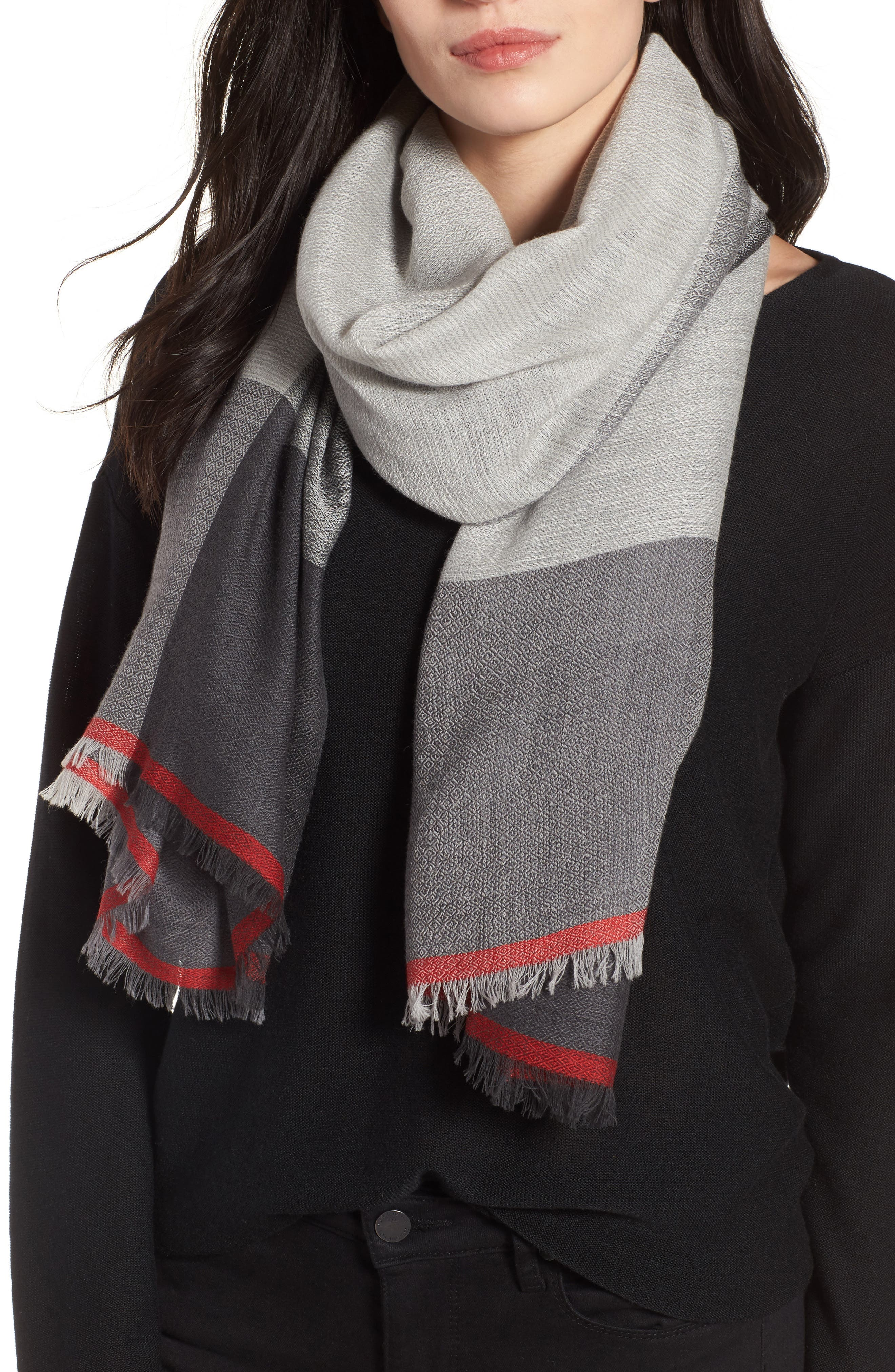 Colorblock Wool & Silk Scarf,                             Main thumbnail 1, color,                             Ash