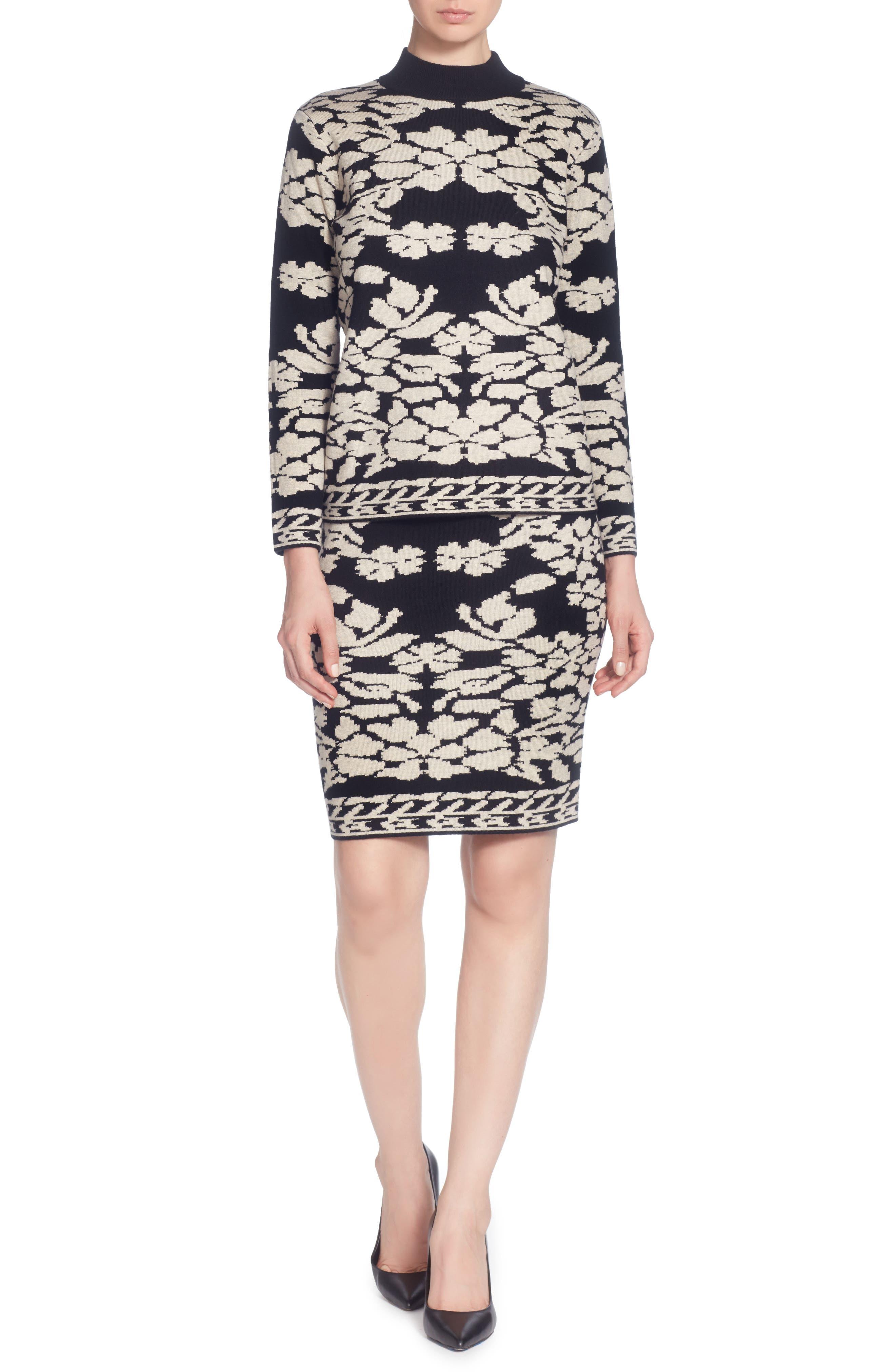 Uffie Floral Knit Skirt,                             Main thumbnail 1, color,                             Black/ Neutral