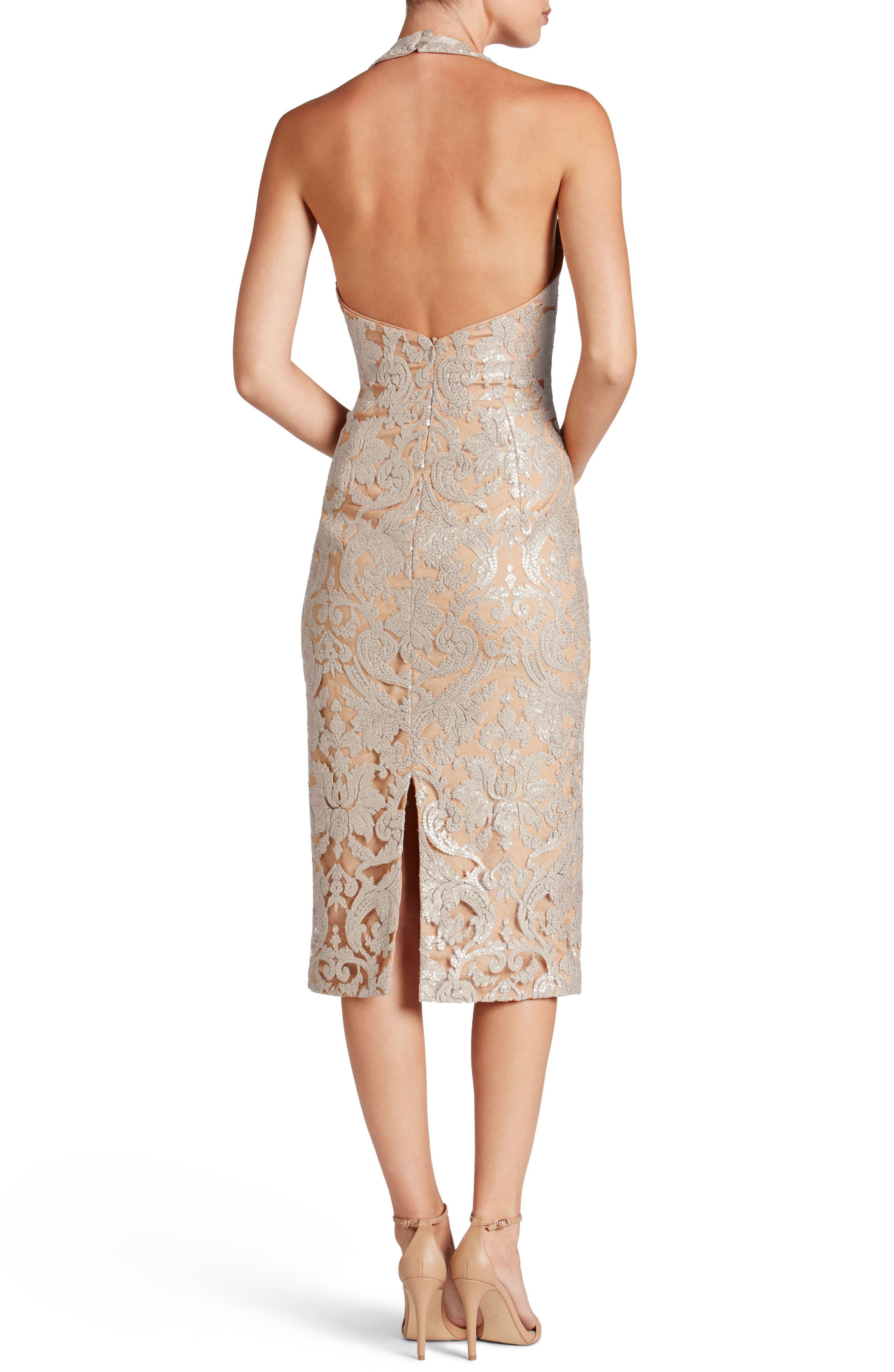 Cassie Sequin Midi Dress,                             Alternate thumbnail 3, color,                             Platinum/ Nude