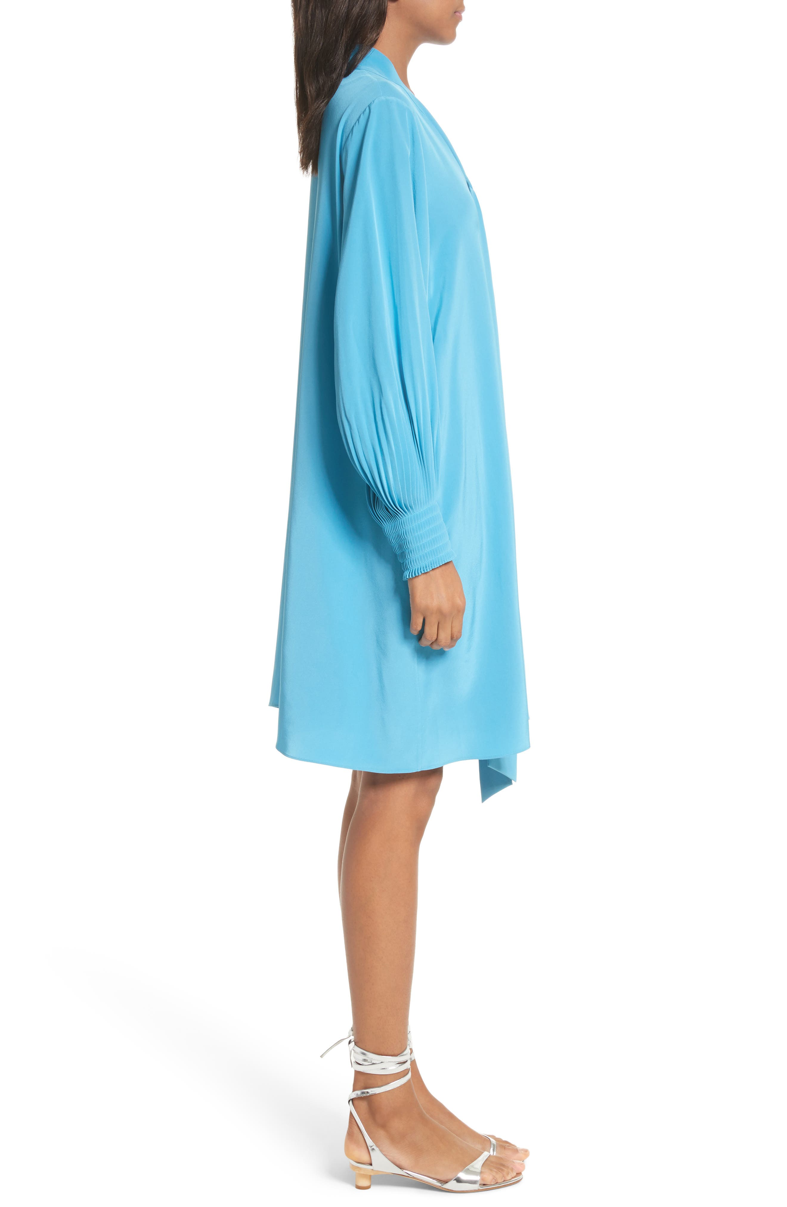 Arielle Tie Front Silk Shift Dress,                             Alternate thumbnail 3, color,                             Bowery Blue