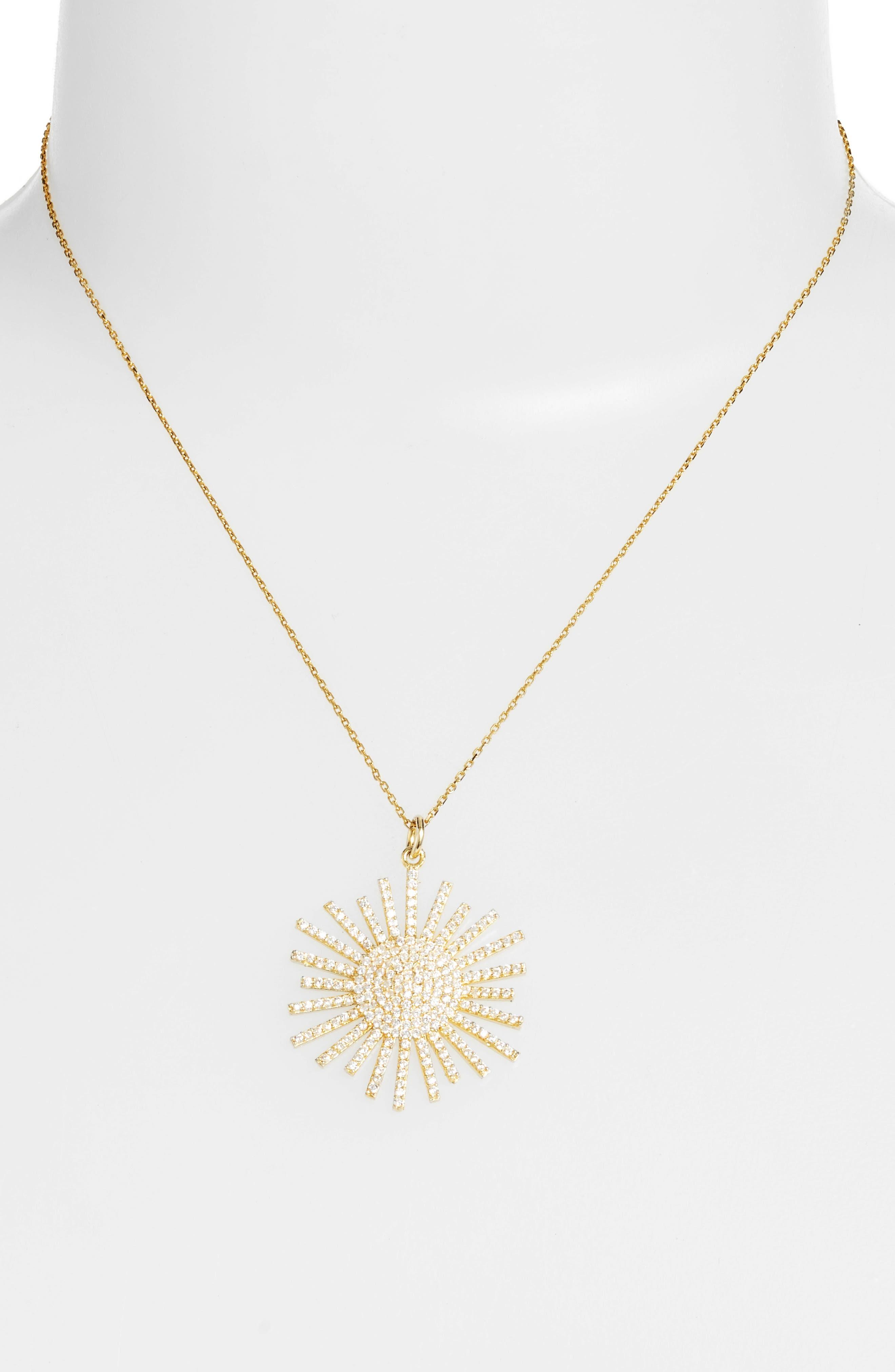Crystal Starburst Necklace,                             Alternate thumbnail 2, color,                             Gold