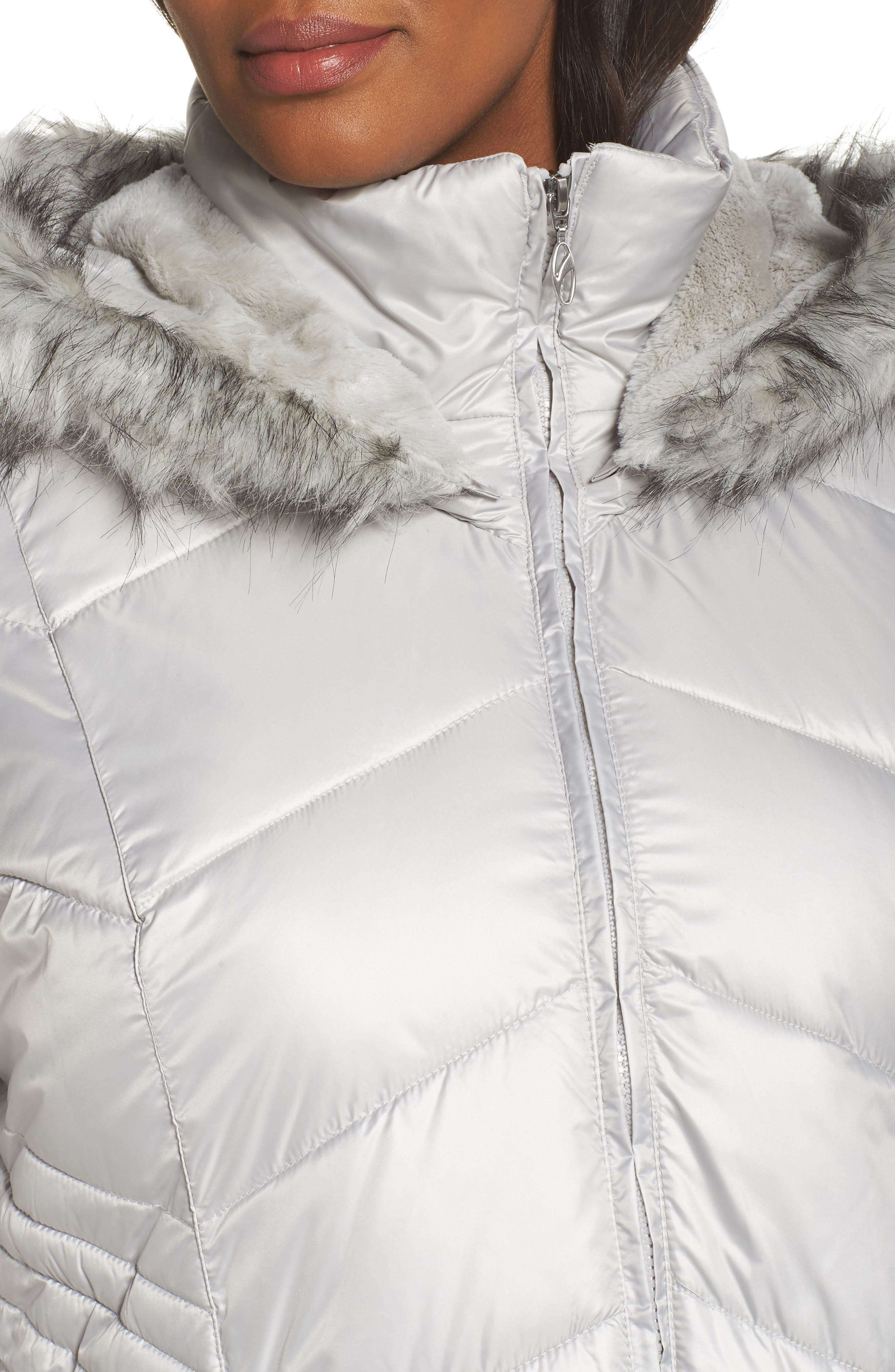 Faux Fur Trim Quilted Parka,                             Alternate thumbnail 4, color,                             Pearl
