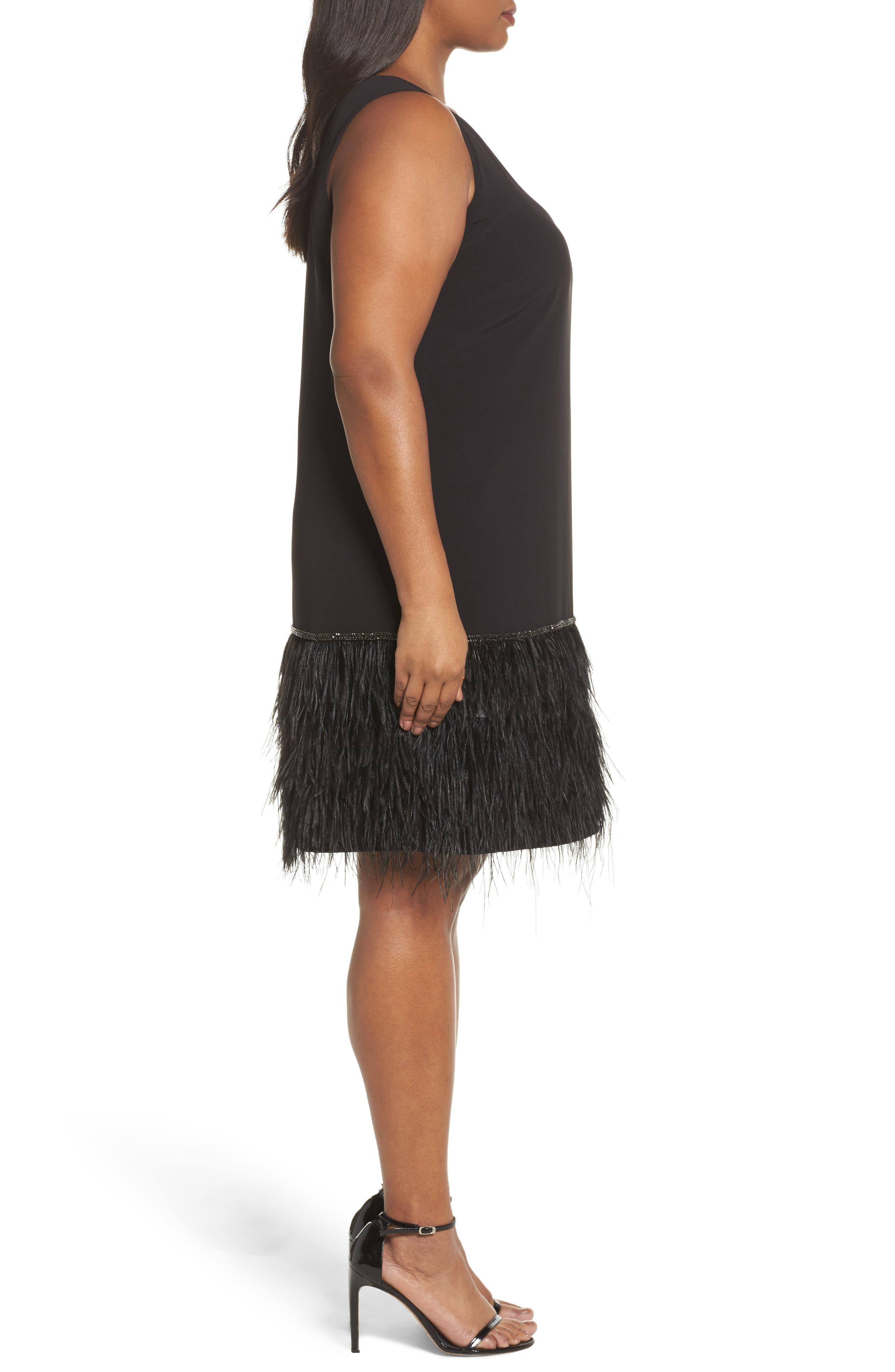 Feather Hem Shift Dress,                             Alternate thumbnail 3, color,                             Black