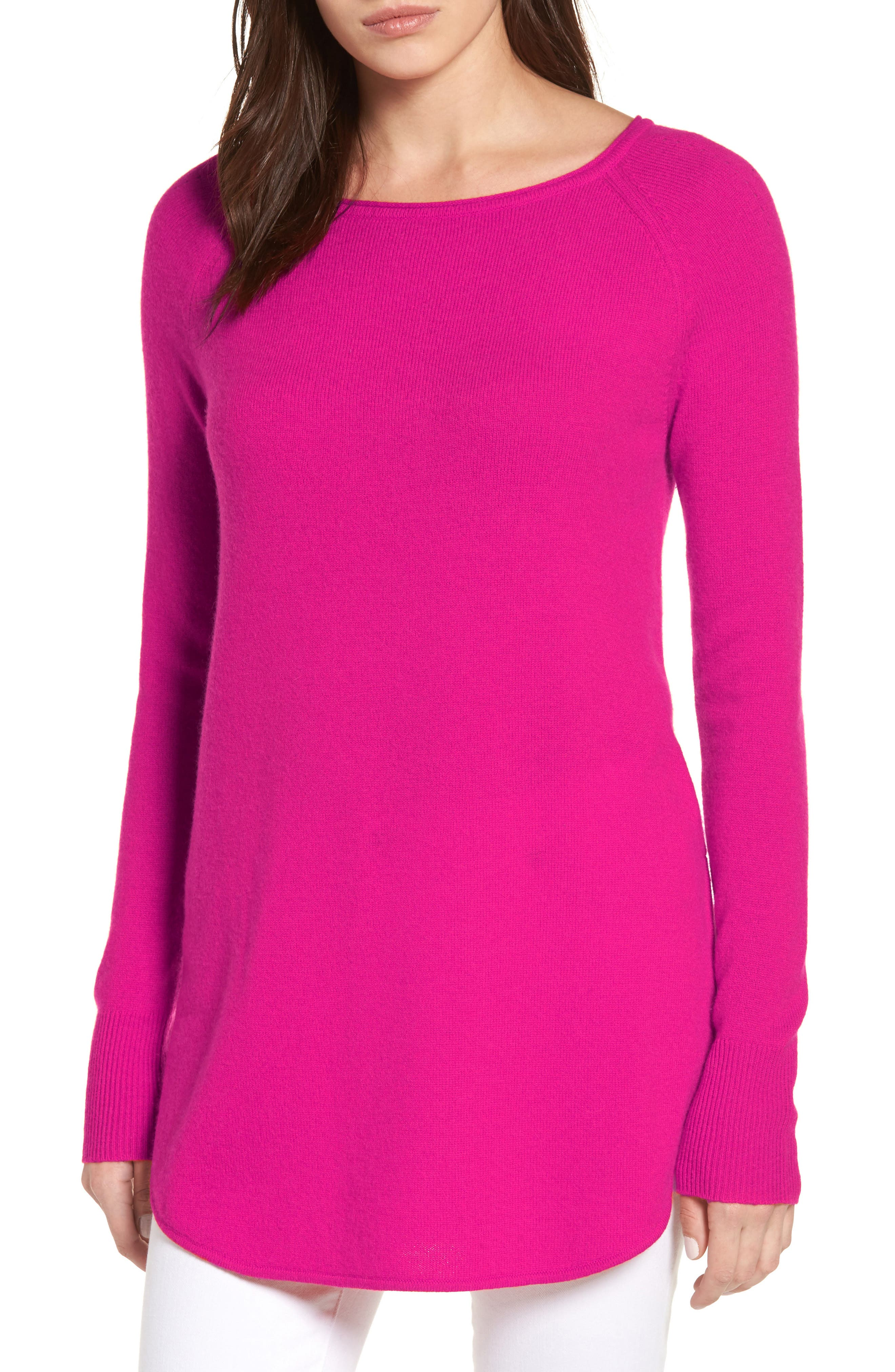 Alternate Image 1 Selected - Halogen® Shirttail Wool & Cashmere Boatneck Tunic (Regular & Petite)