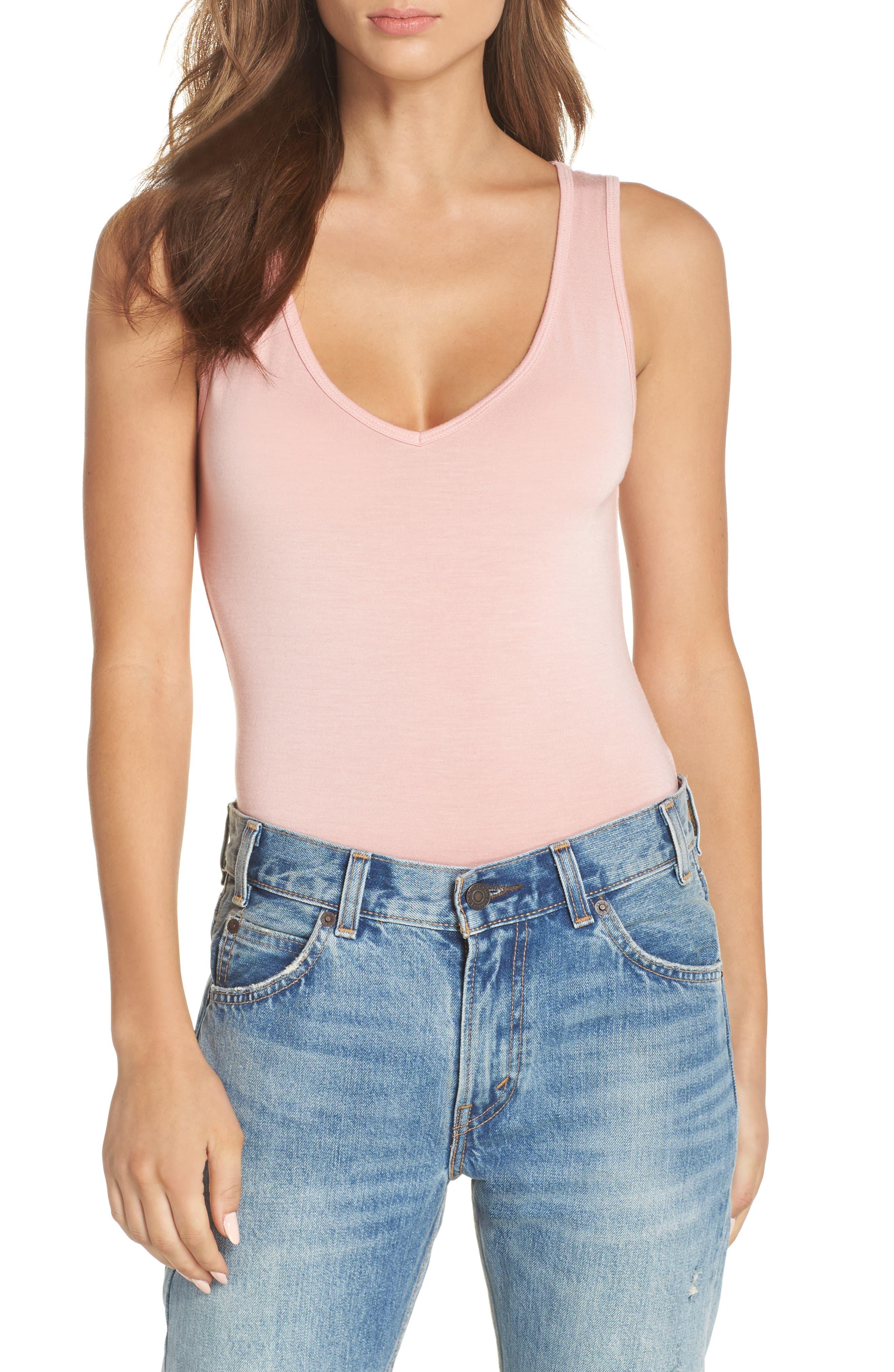 Jenny V-Neck Thong Bodysuit,                             Alternate thumbnail 5, color,                             Dream Pink