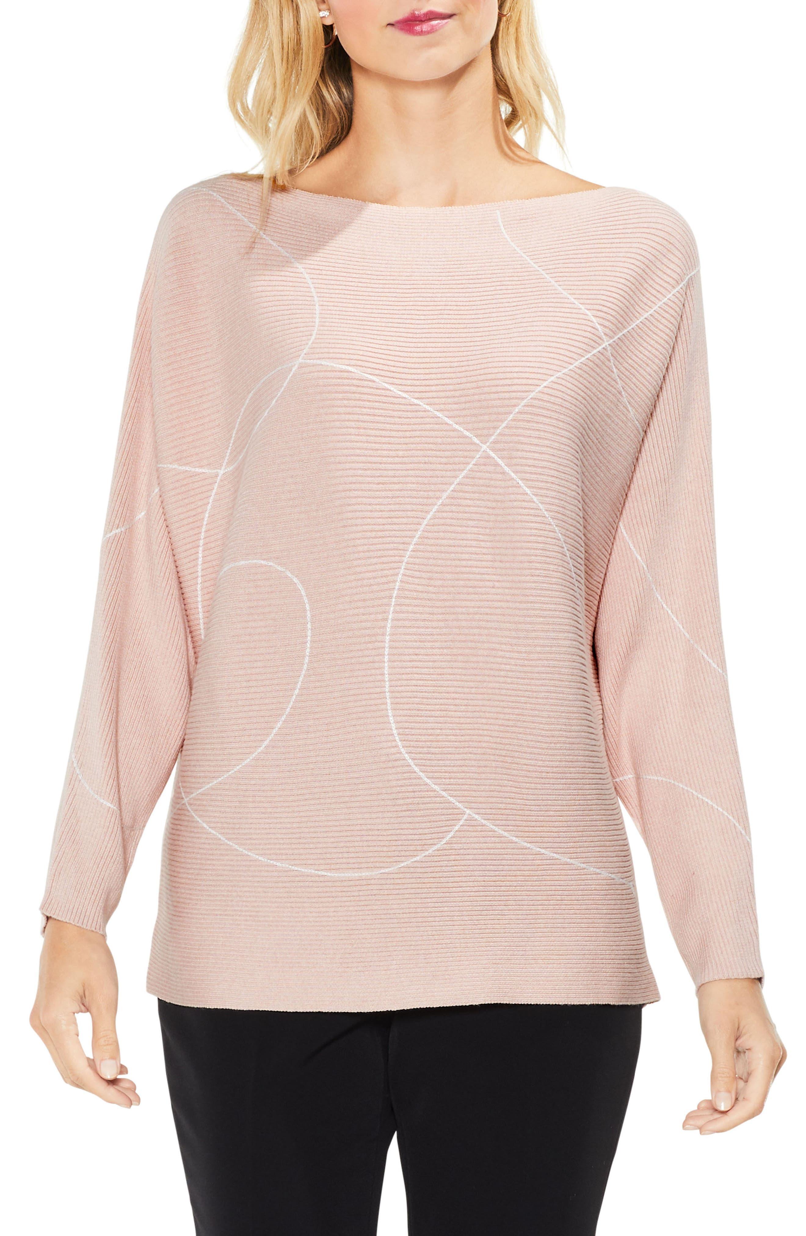 Ink Swirl Ribbed Sweater,                             Main thumbnail 1, color,                             Rose Buff