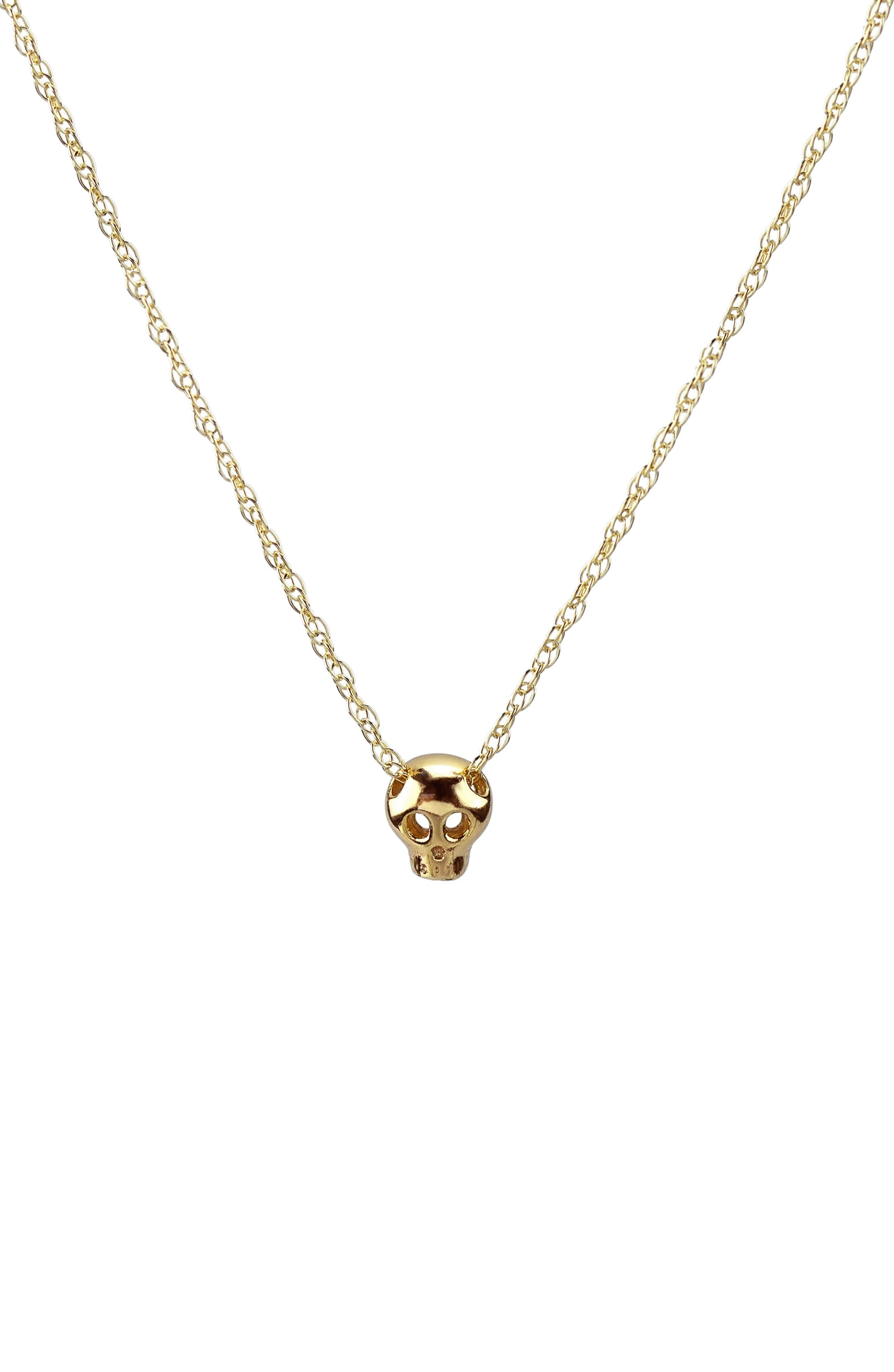 Kris Nations Tiny Skull Charm Necklace