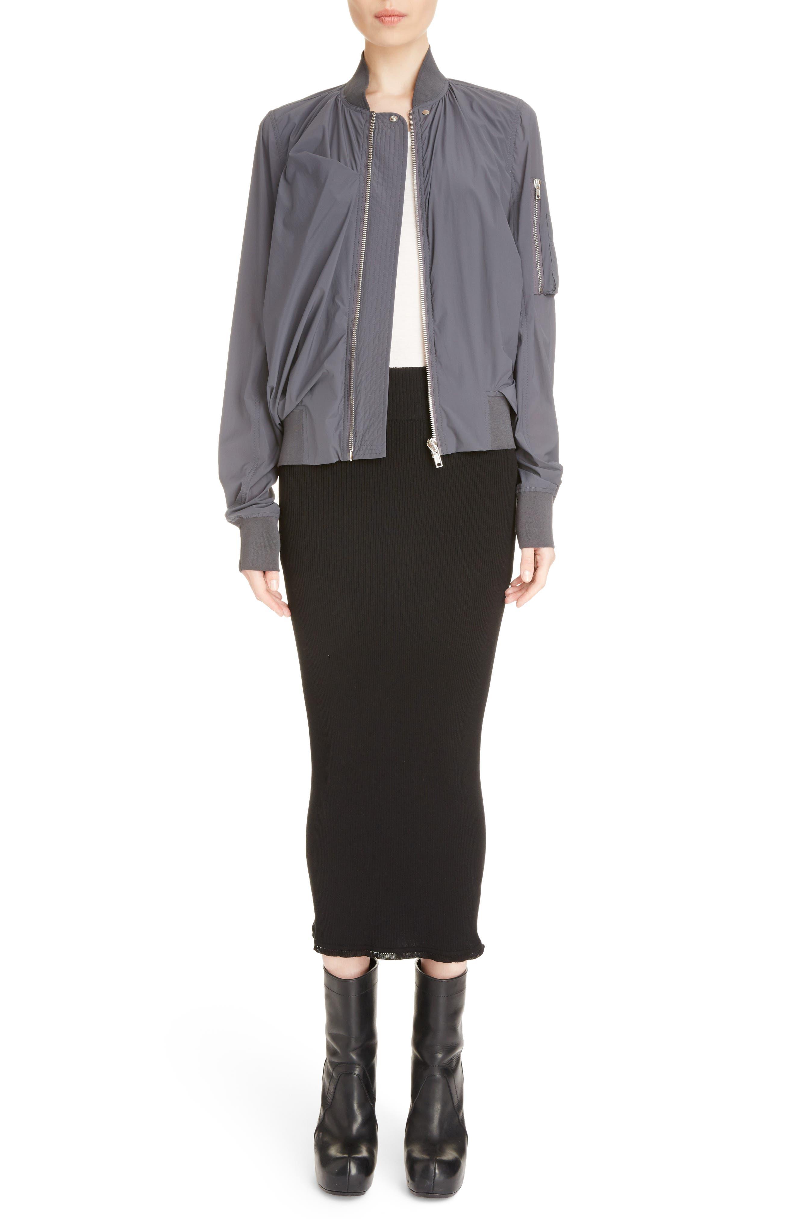 Stretch Knit Midi Skirt,                             Alternate thumbnail 6, color,                             Black