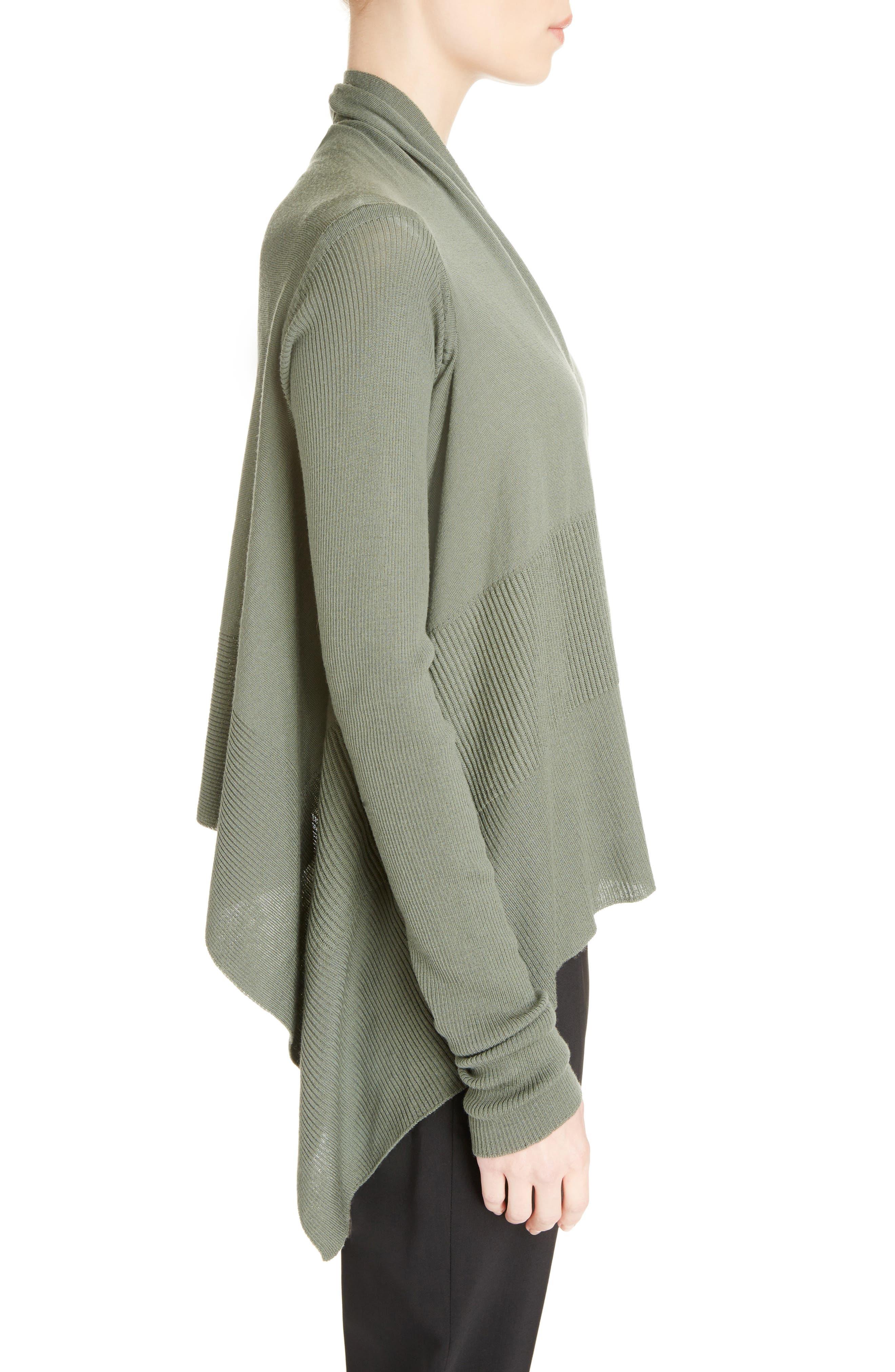 Merino Wool Drape Crop Cardigan,                             Alternate thumbnail 4, color,                             Sage