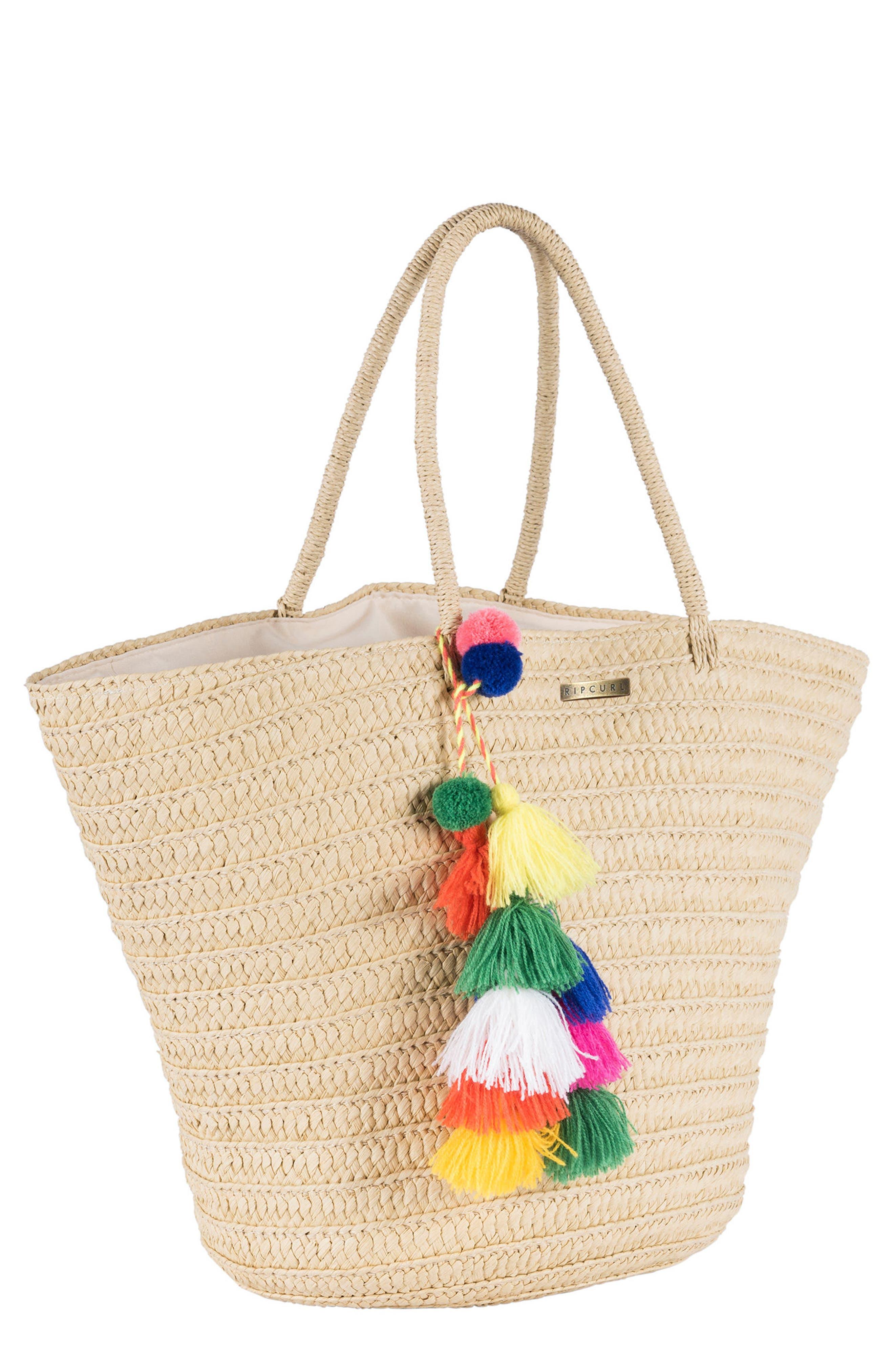 Beach Bazaar Straw Bag,                             Main thumbnail 1, color,                             Natural