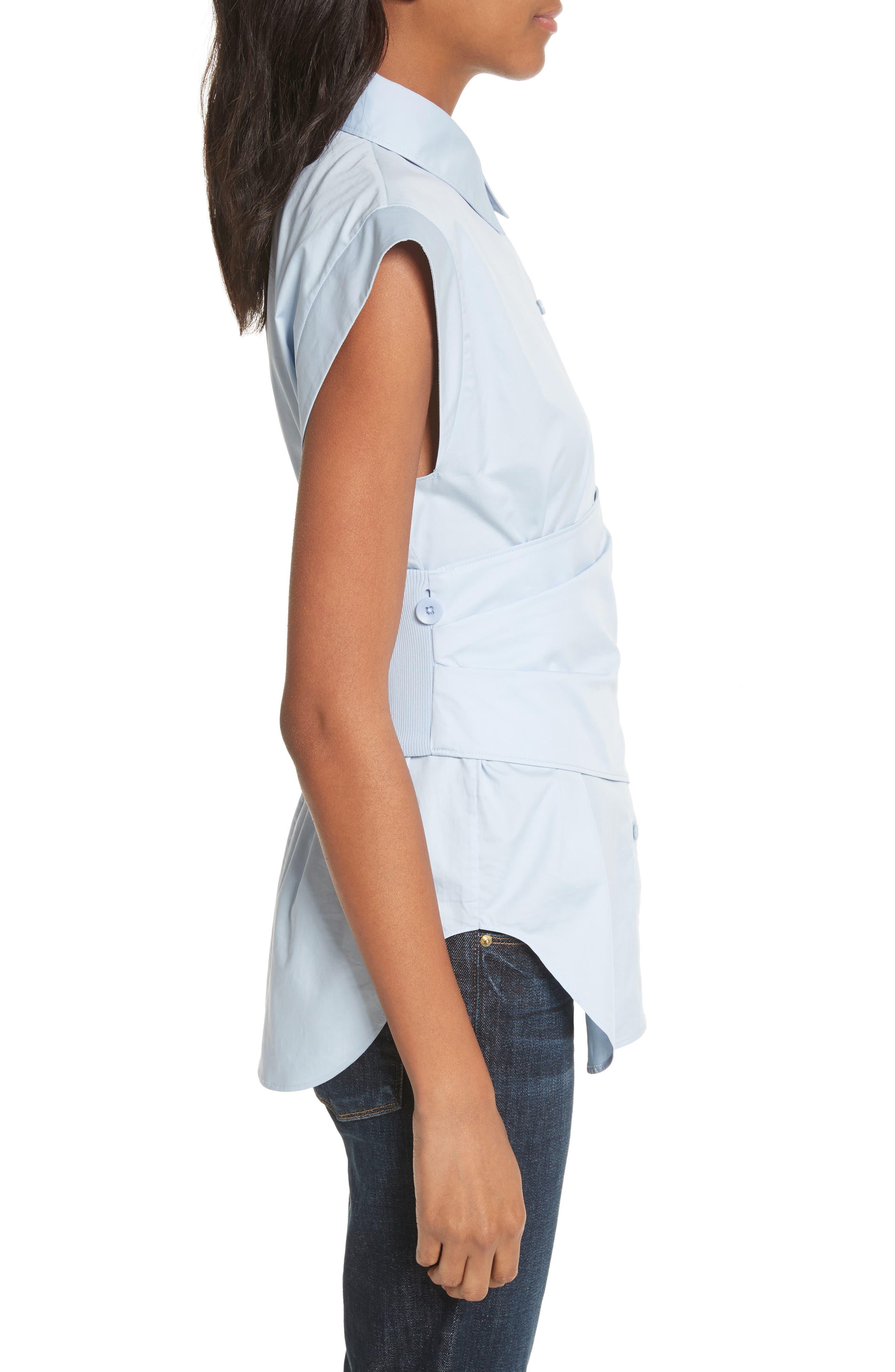 Cap Sleeve Corset Shirt,                             Alternate thumbnail 3, color,                             Morning Blue