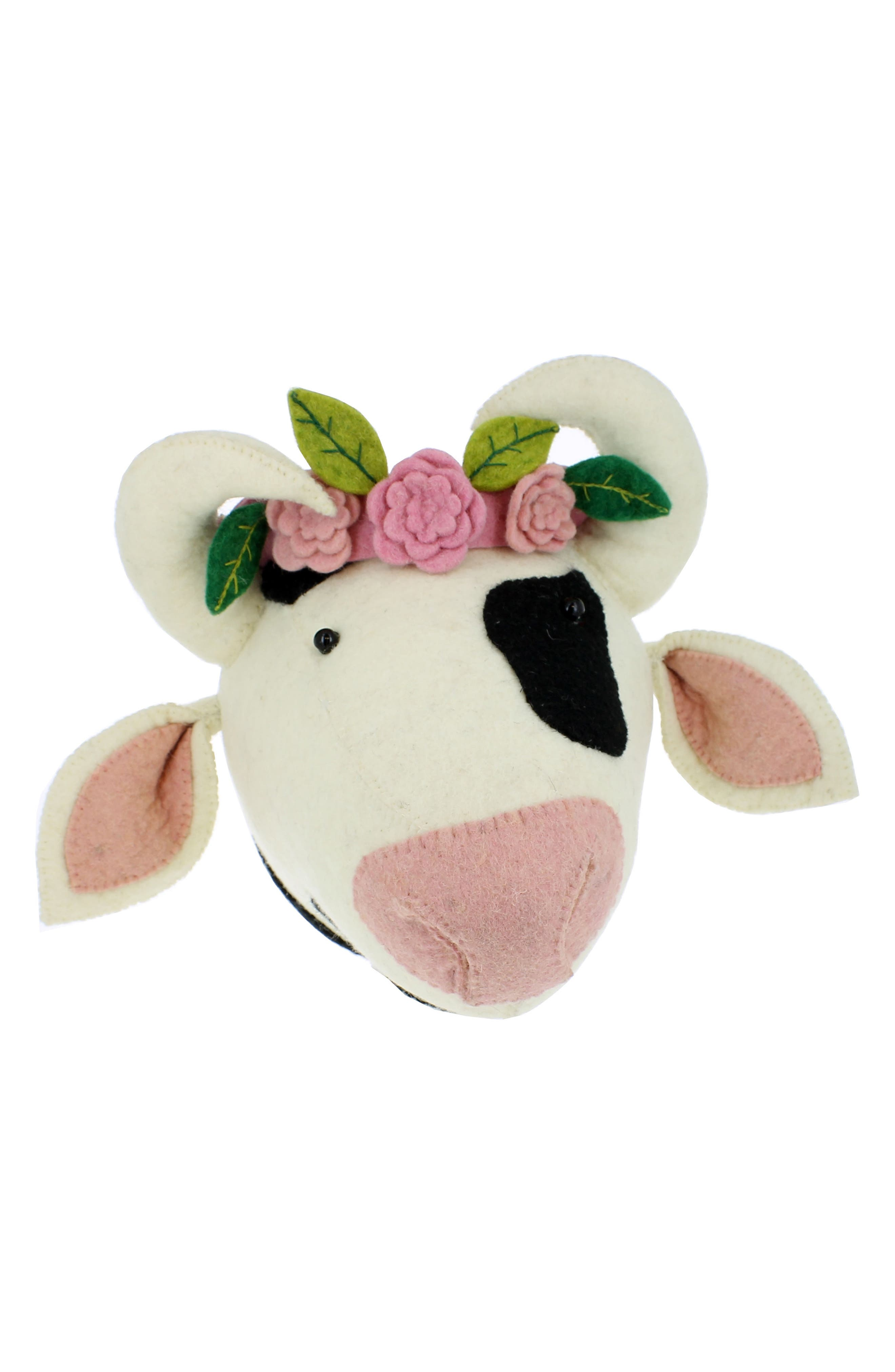 Cow Head with Flowers Wall Art,                             Main thumbnail 1, color,                             White