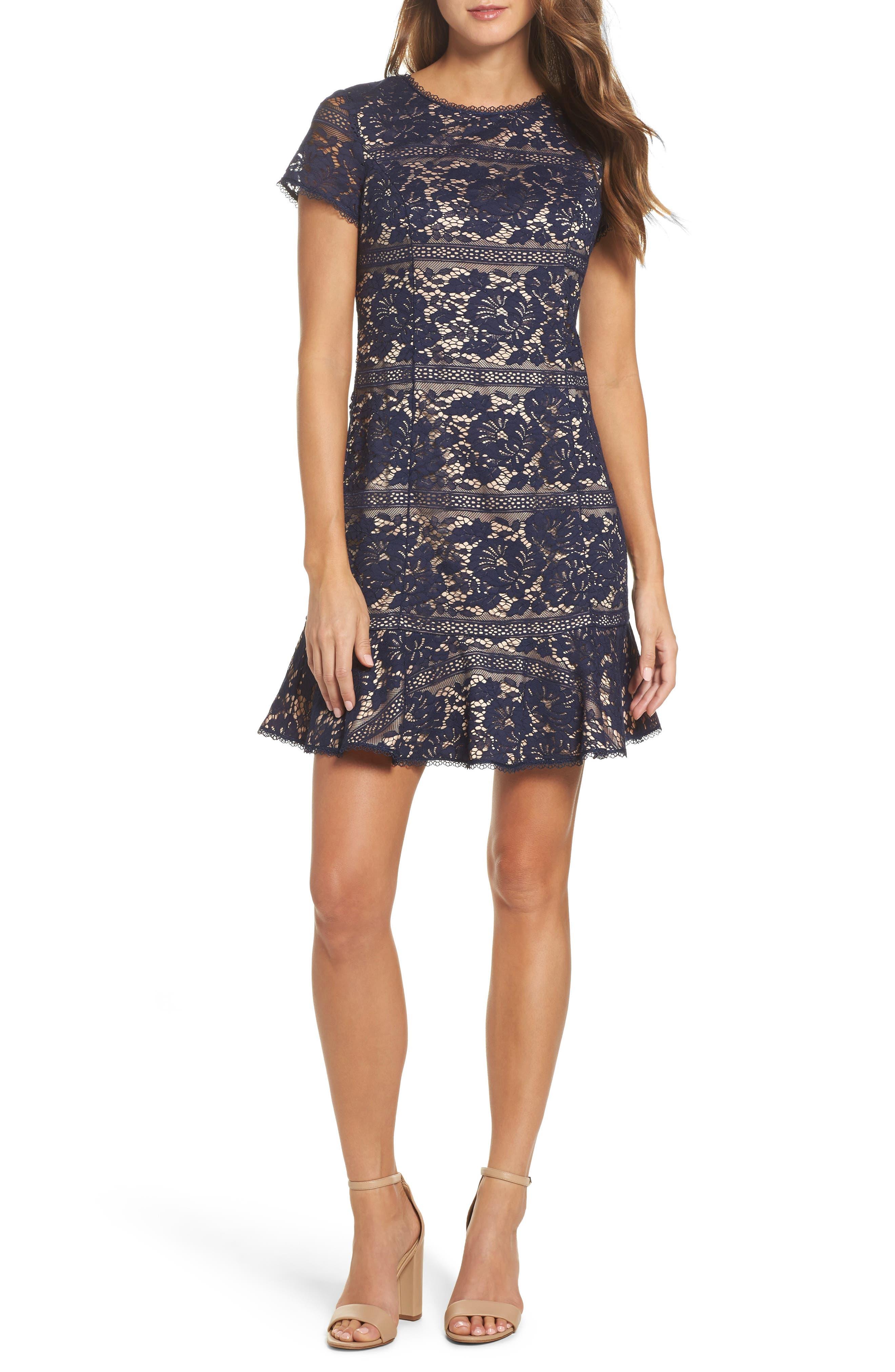 Lace Ruffle Hem Sheath Dress,                             Main thumbnail 1, color,                             Navy