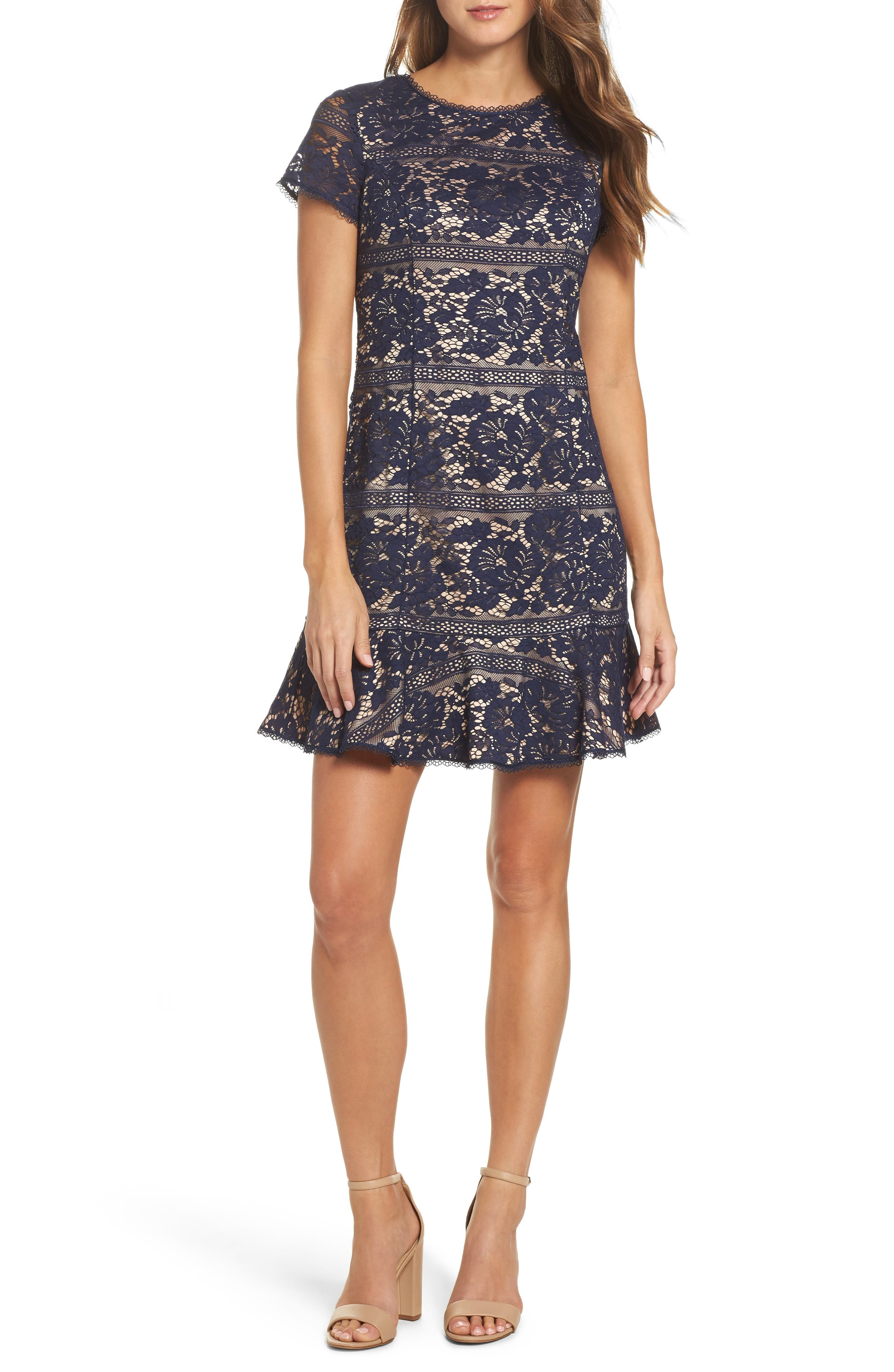 Lace Ruffle Hem Sheath Dress,                         Main,                         color, Navy