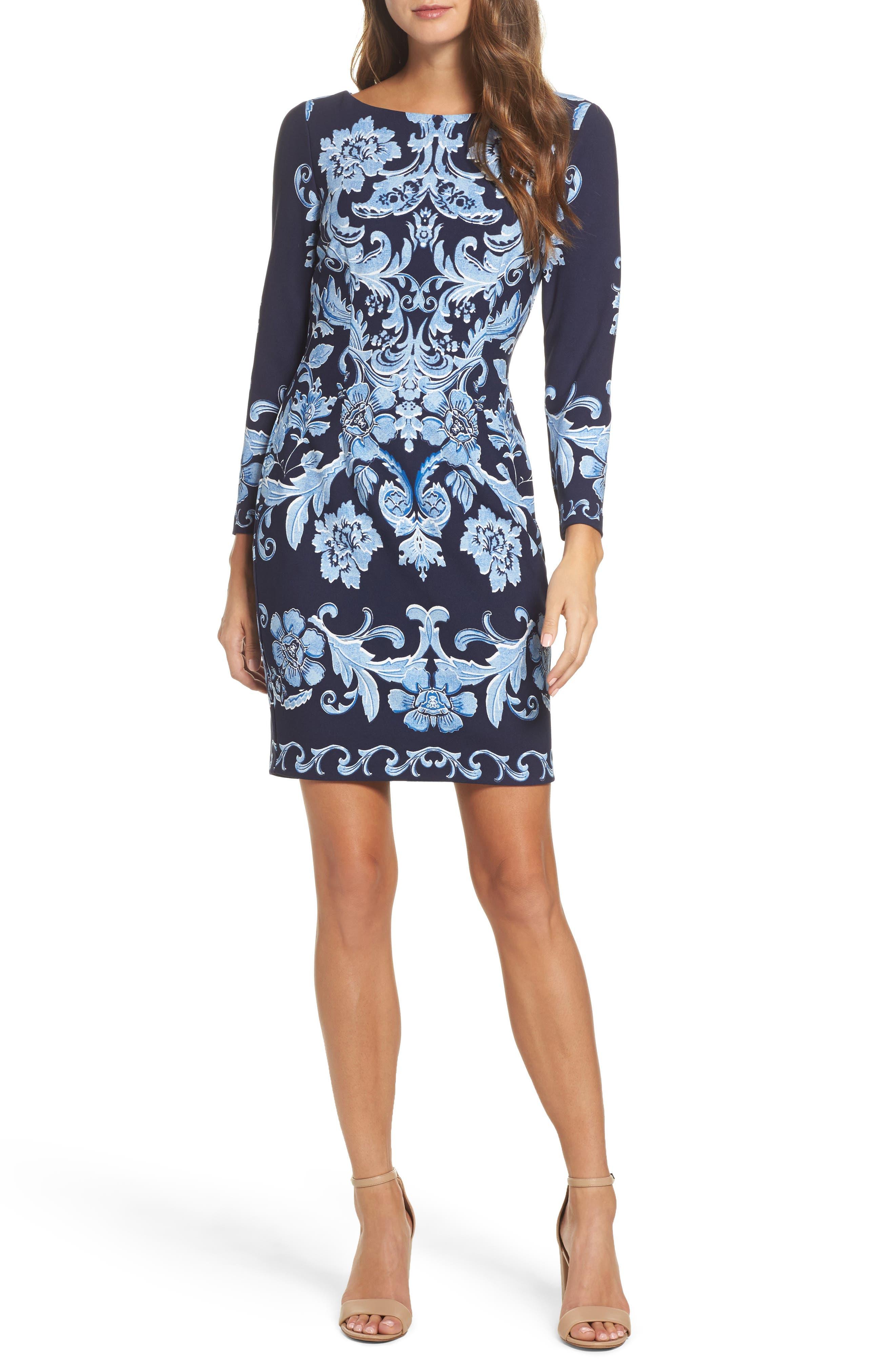 Crepe Sheath Dress,                         Main,                         color, Navy
