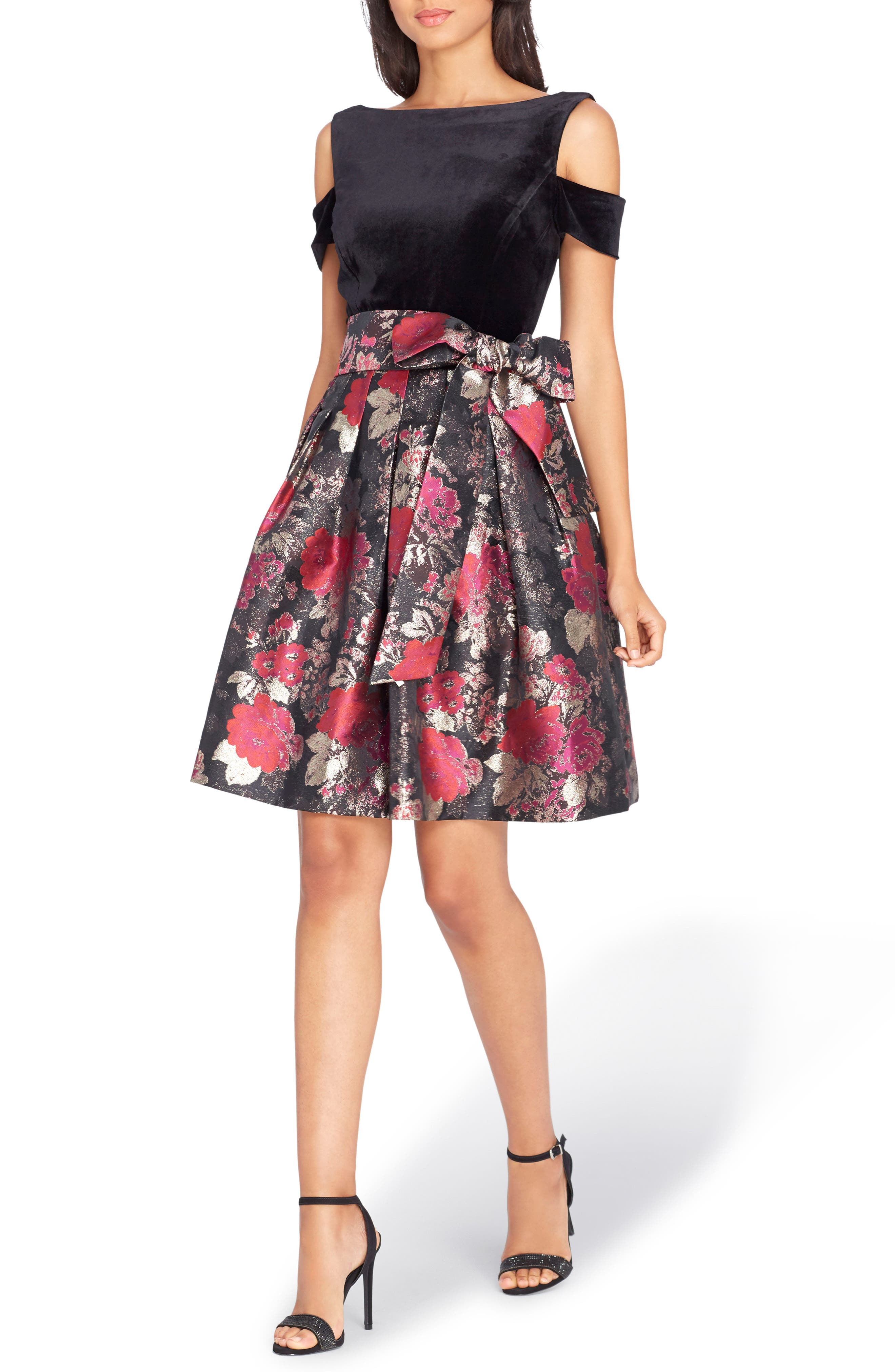 Cold Shoulder Fit & Flare Dress,                             Main thumbnail 1, color,                             Black/ Red/ Gold
