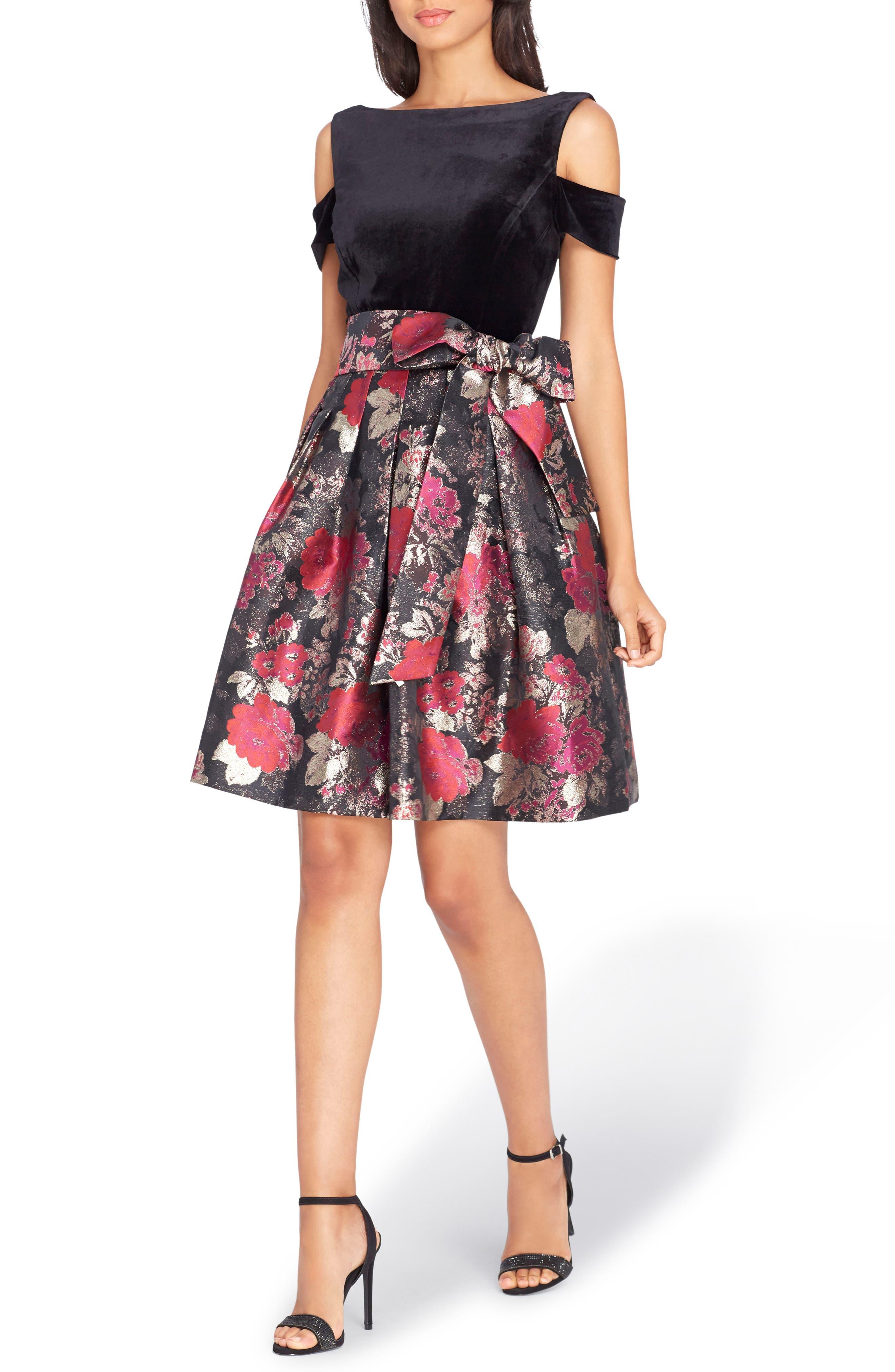 Cold Shoulder Fit & Flare Dress,                         Main,                         color, Black/ Red/ Gold