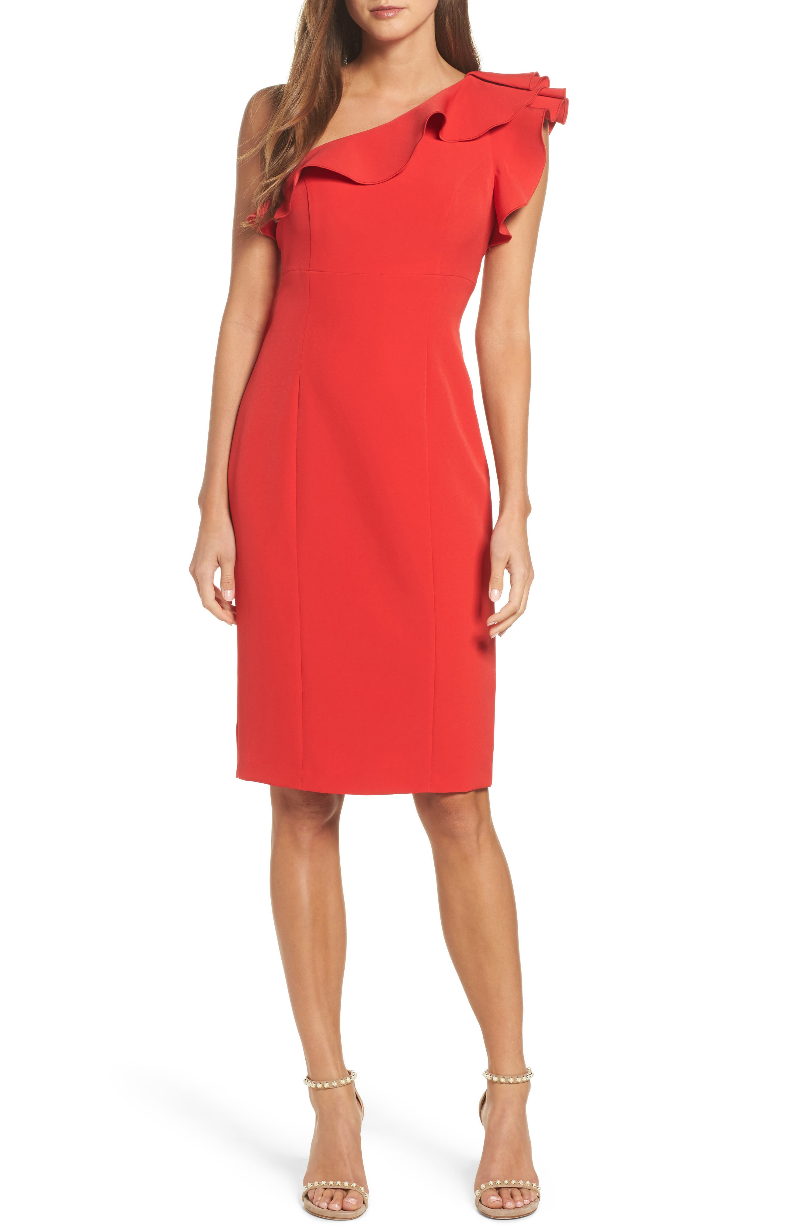 Ruffle One-Shoulder Dress,                         Main,                         color, Red