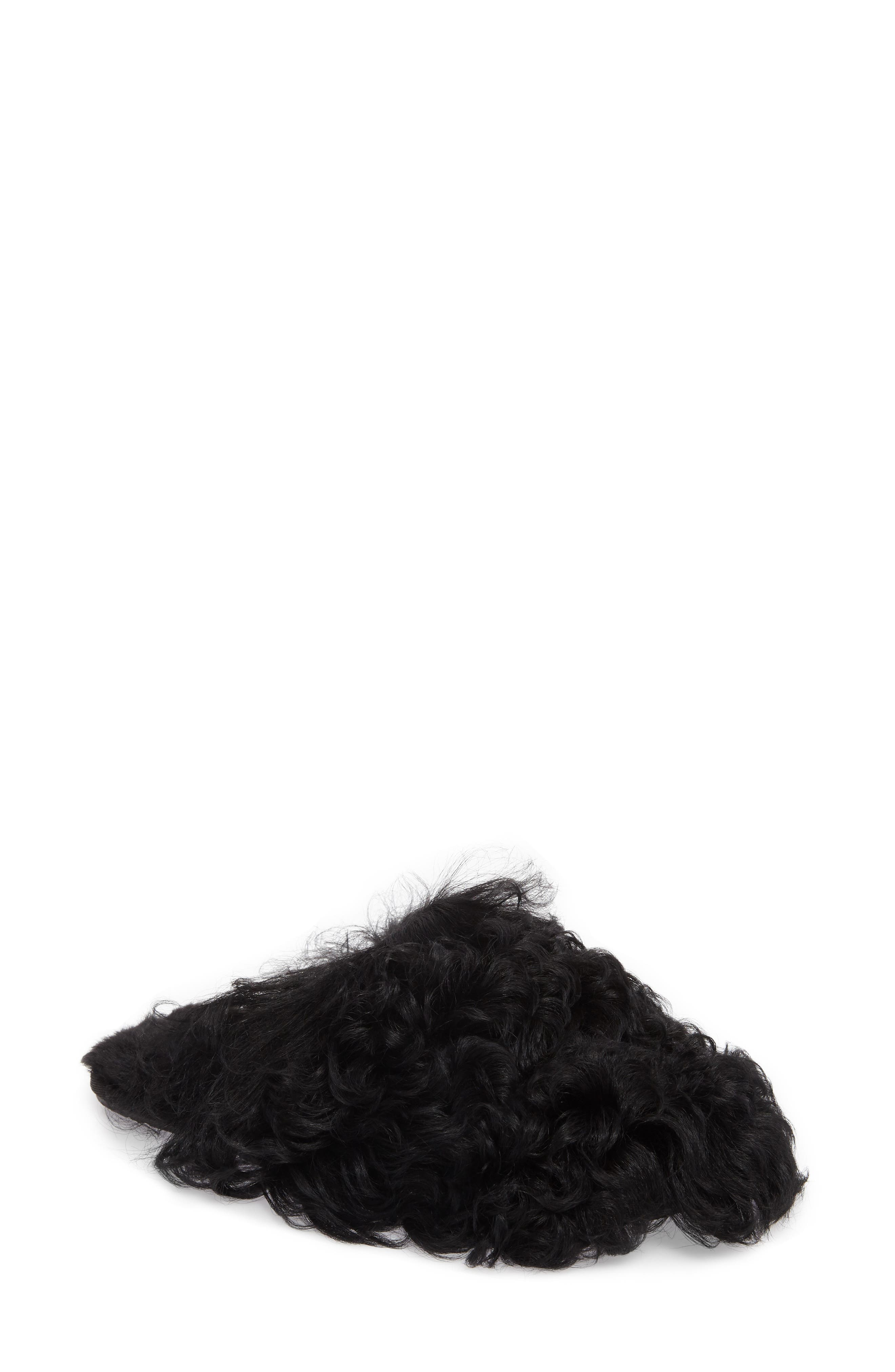 Fluff Momma Genuine Shearling Slipper,                             Main thumbnail 1, color,                             Black Wool