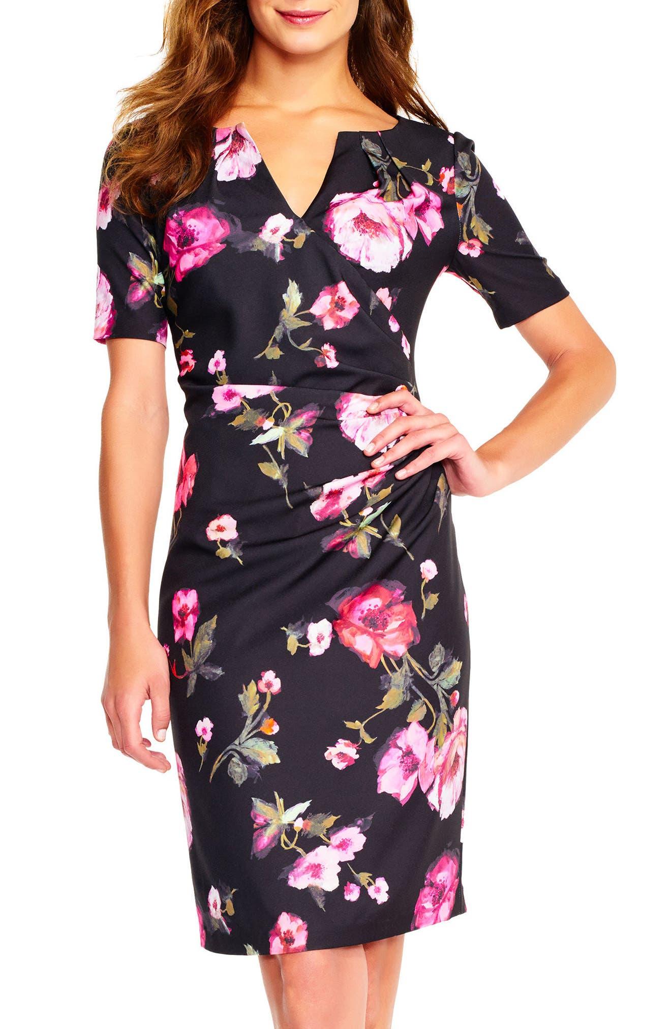Adrianna Papell Autumn Rose Side Drape Sheath Dress