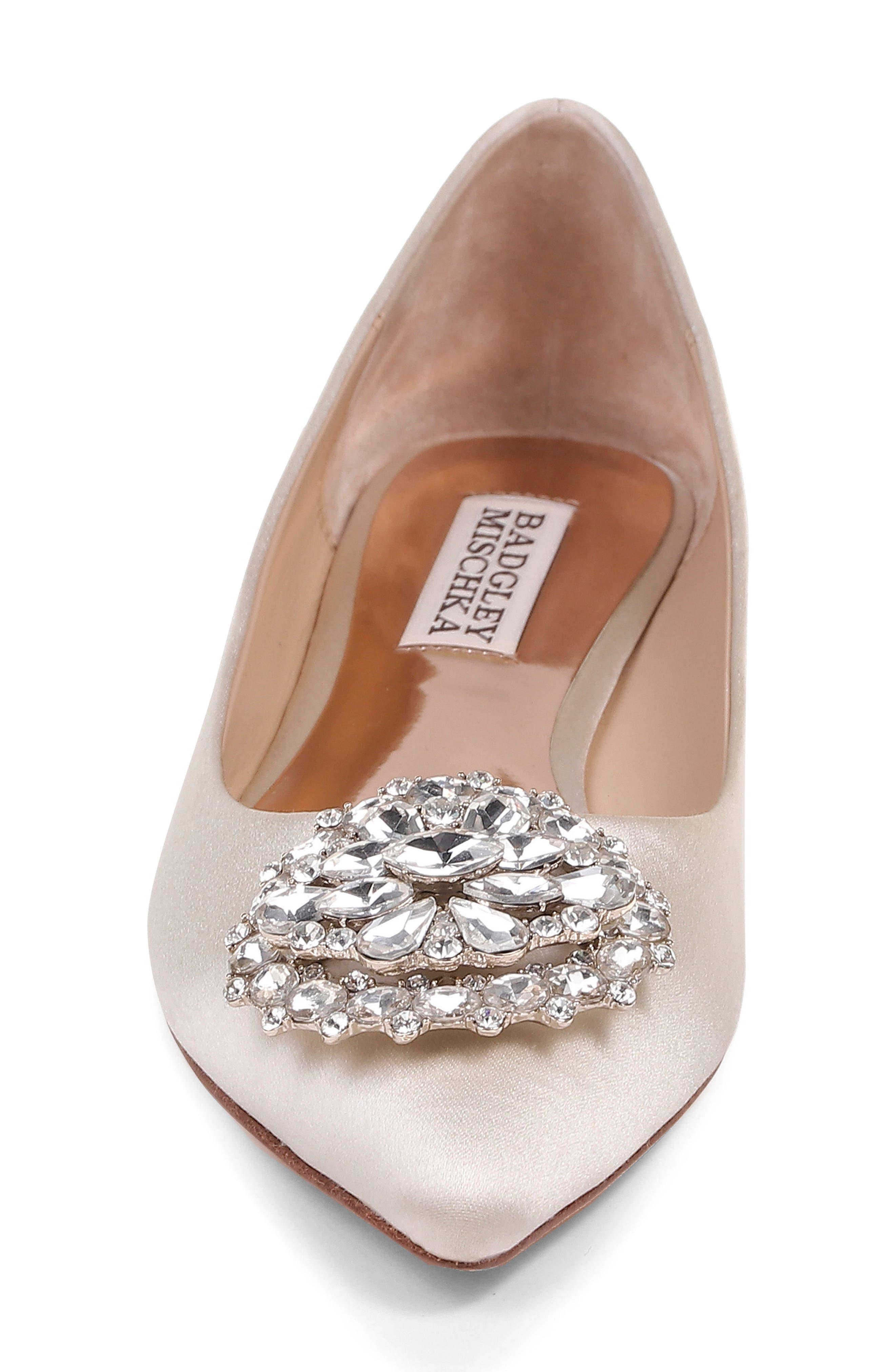 'Davis' Crystal Embellished Pointy Toe Flat,                             Alternate thumbnail 6, color,                             Ivory Satin