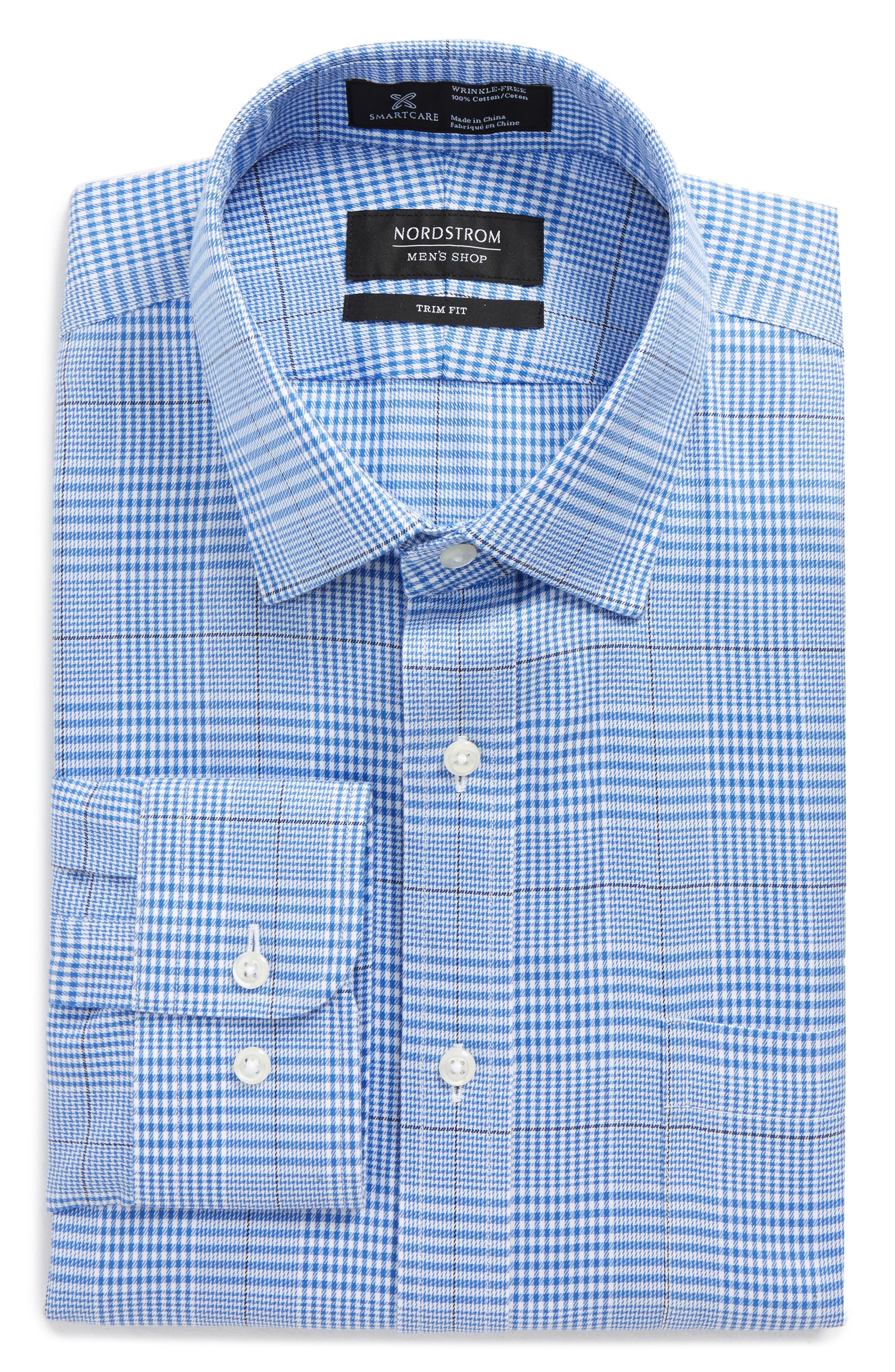 Smartcare<sup>™</sup> Trim Fit Plaid Dress Shirt,                             Main thumbnail 1, color,                             Blue Yonder