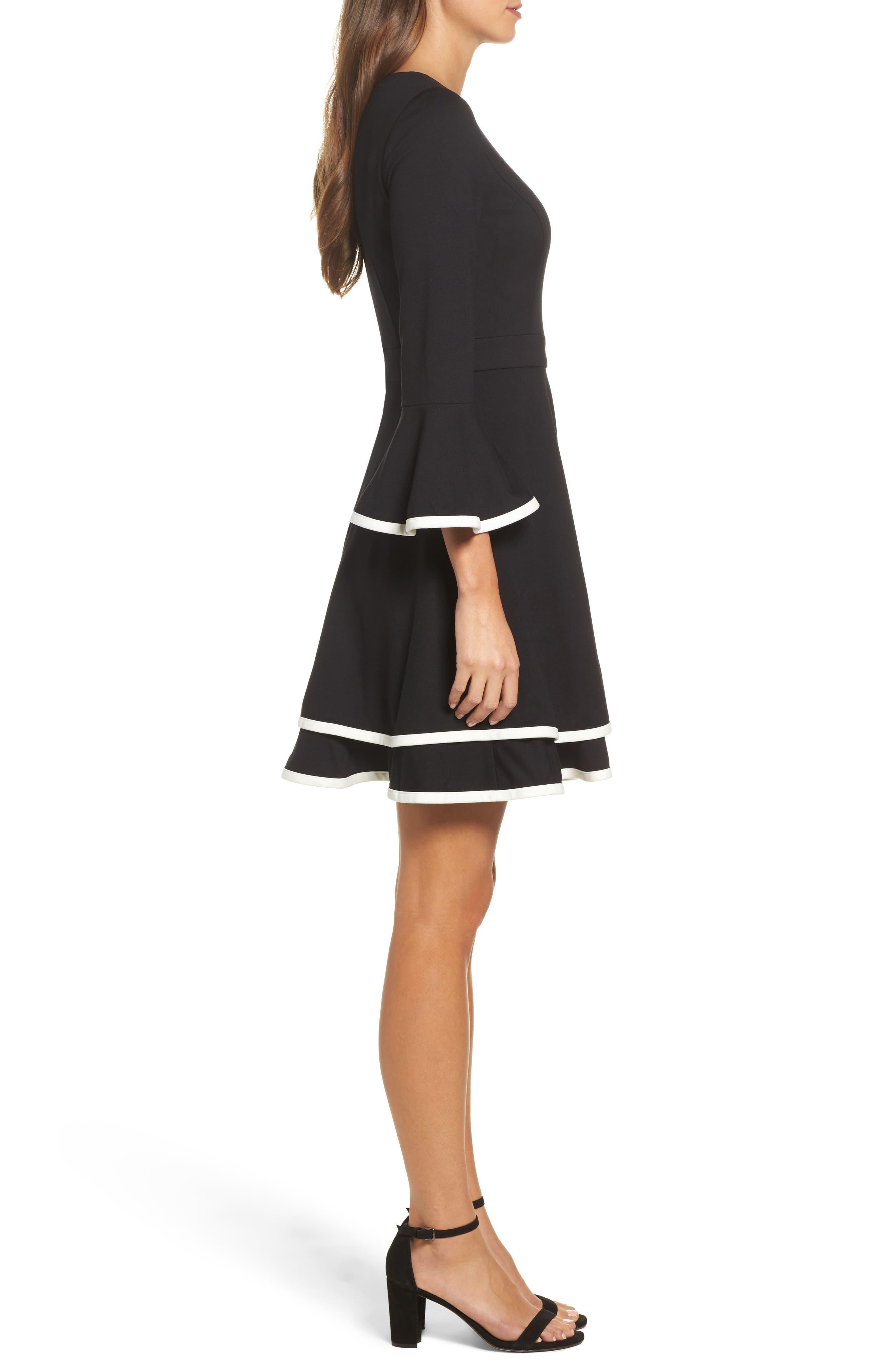 Bell Sleeve Fit & Flare Dress,                             Alternate thumbnail 3, color,                             Black/ Ivory