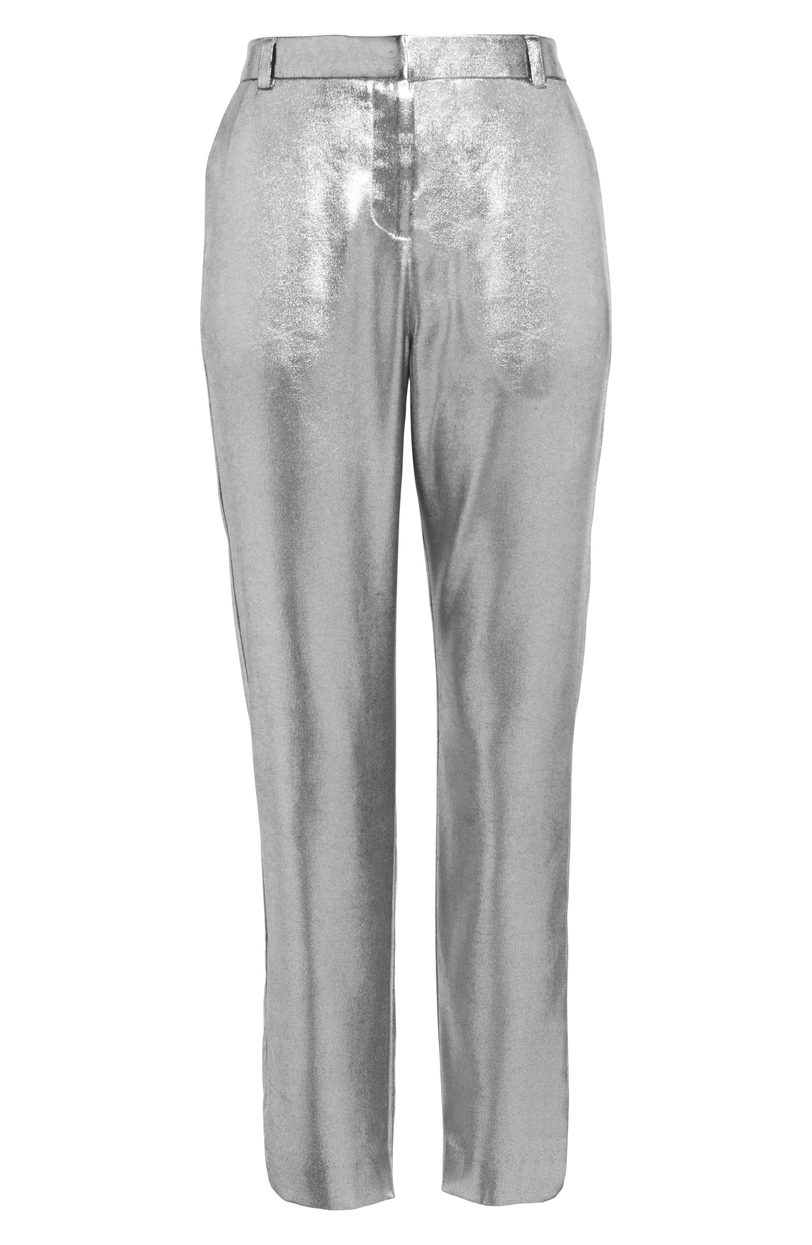 Metallic Suit Trousers,                             Alternate thumbnail 7, color,                             Silver