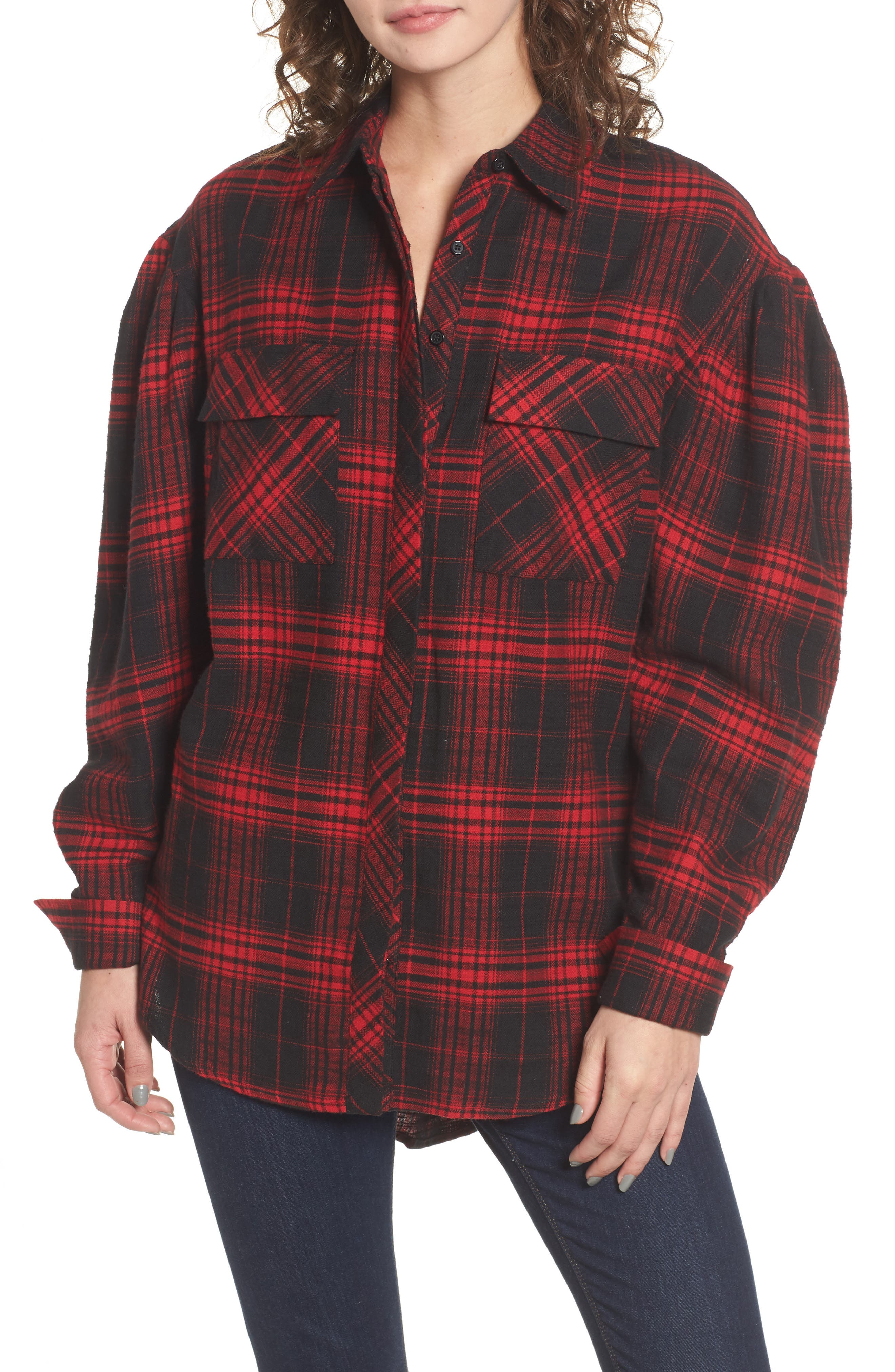 Victoria Oversize Flannel Shirt,                             Main thumbnail 1, color,                             Red Flannel