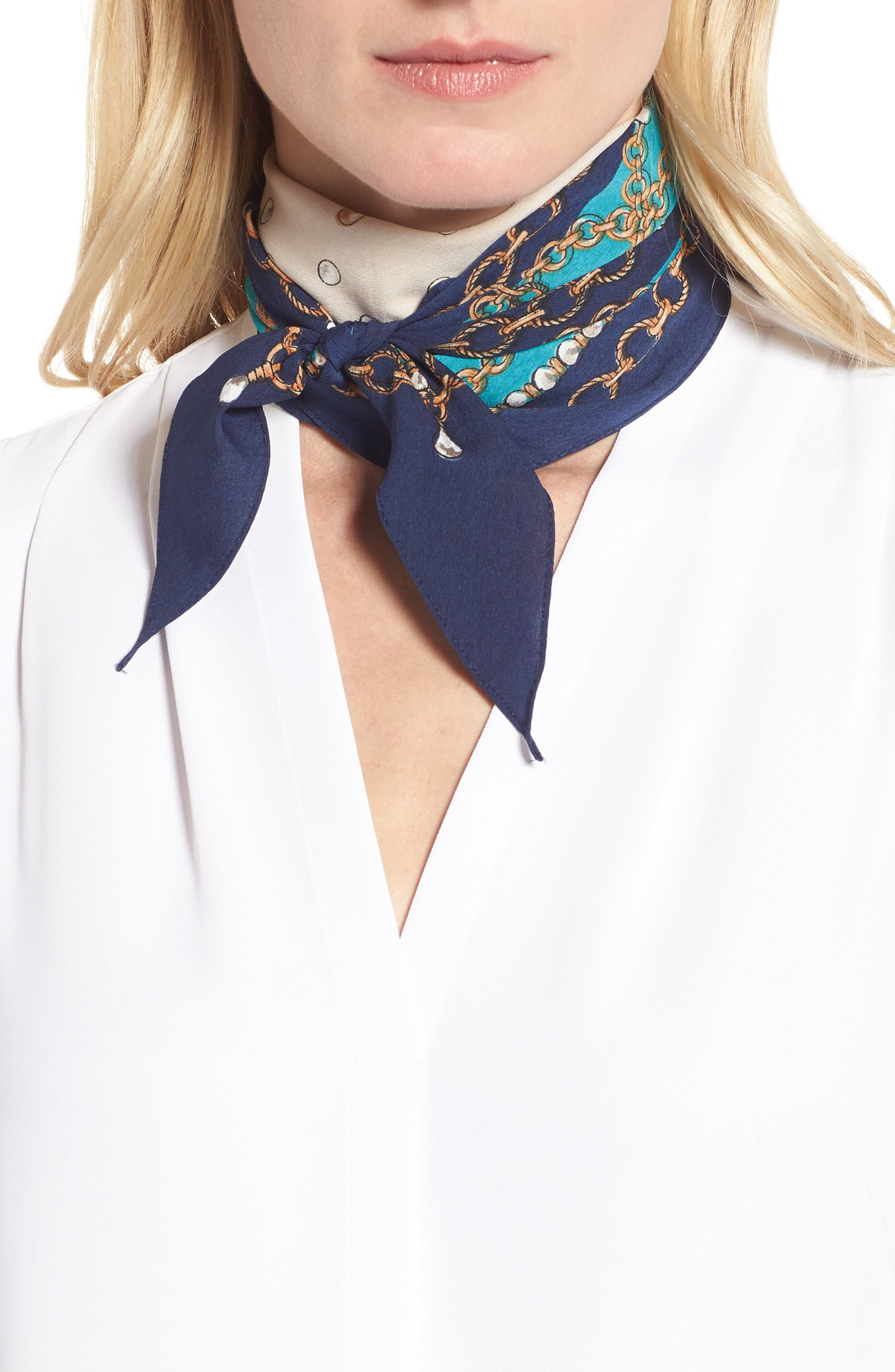 Pearl & Chain Print Scarf,                         Main,                         color, Navy Night