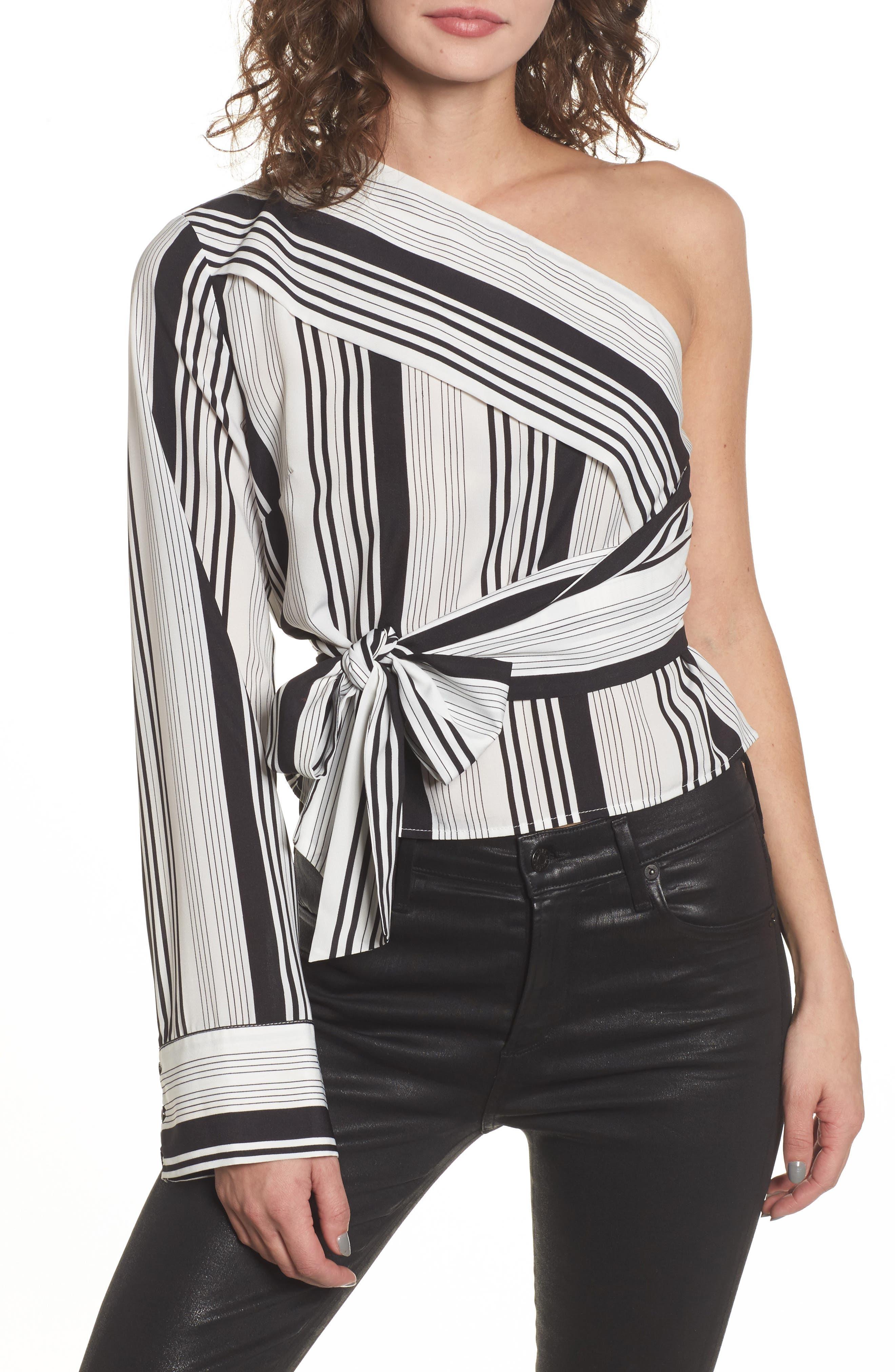 One-Shoulder Tie Waist Shirt,                         Main,                         color, Black/ White Stripe