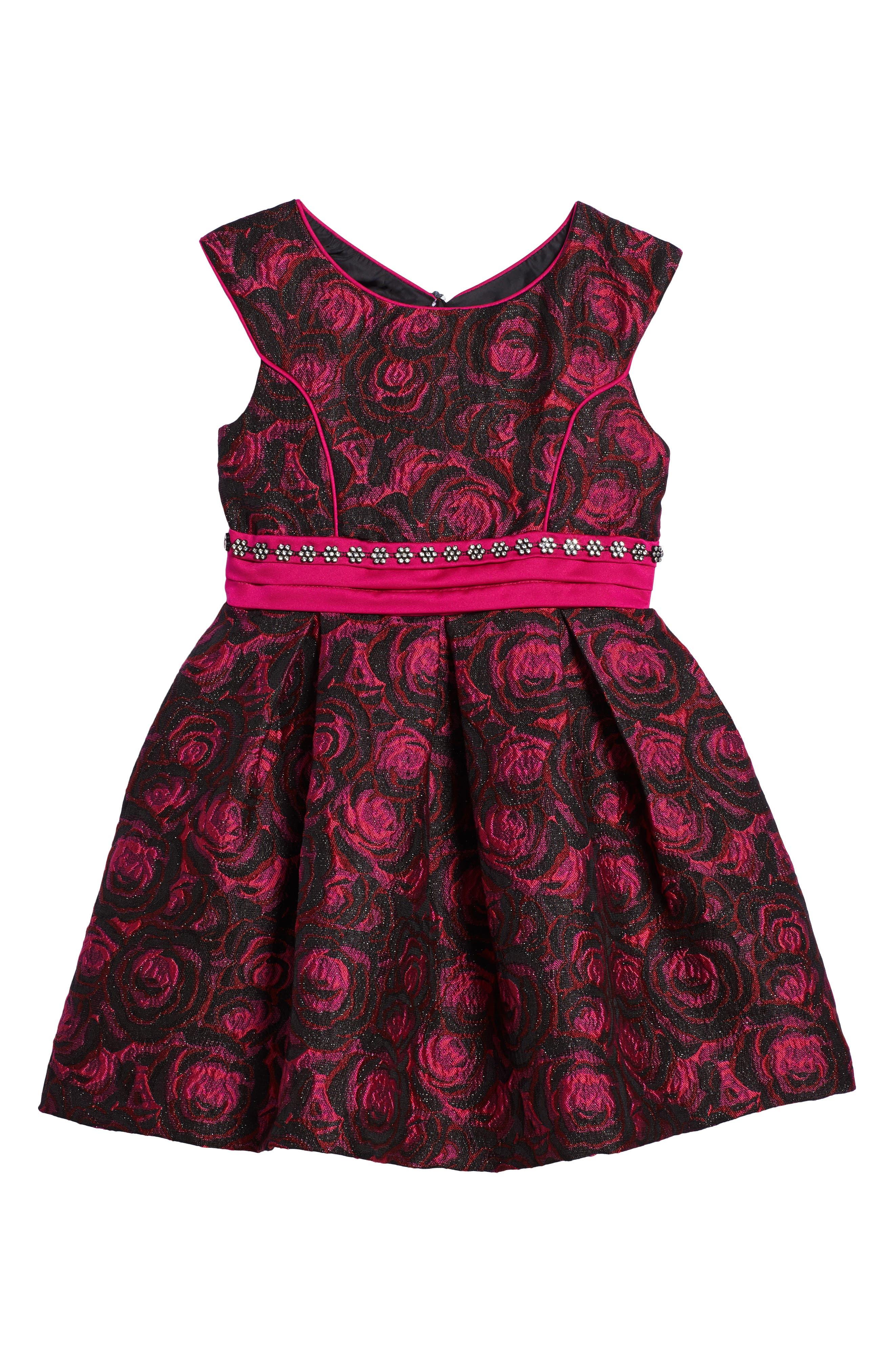 Floral Jacquard Dress,                             Main thumbnail 1, color,                             Fuschia