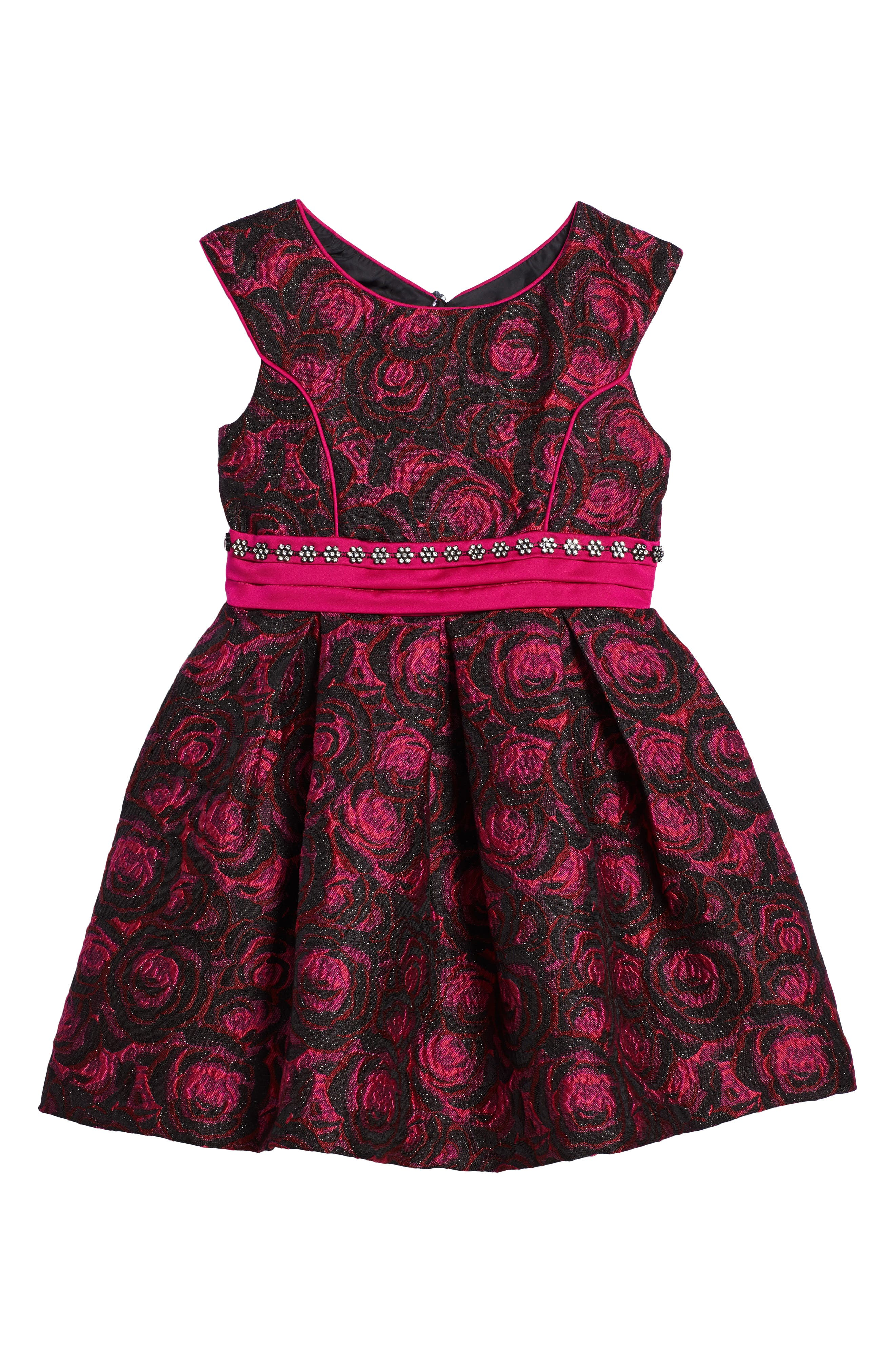 Floral Jacquard Dress,                         Main,                         color, Fuschia