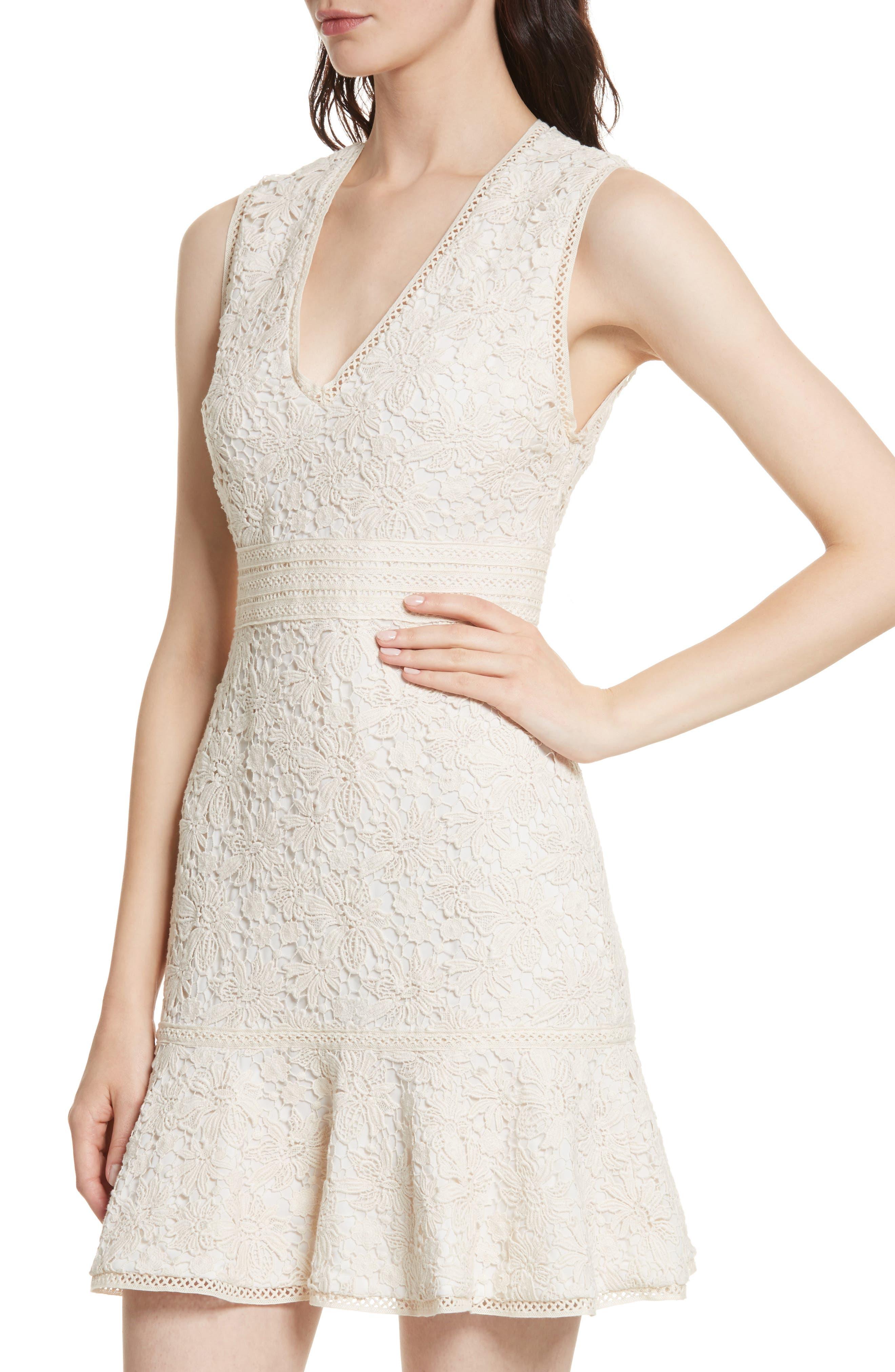 Onella V-Neck Lace Dress,                             Alternate thumbnail 4, color,                             Natural