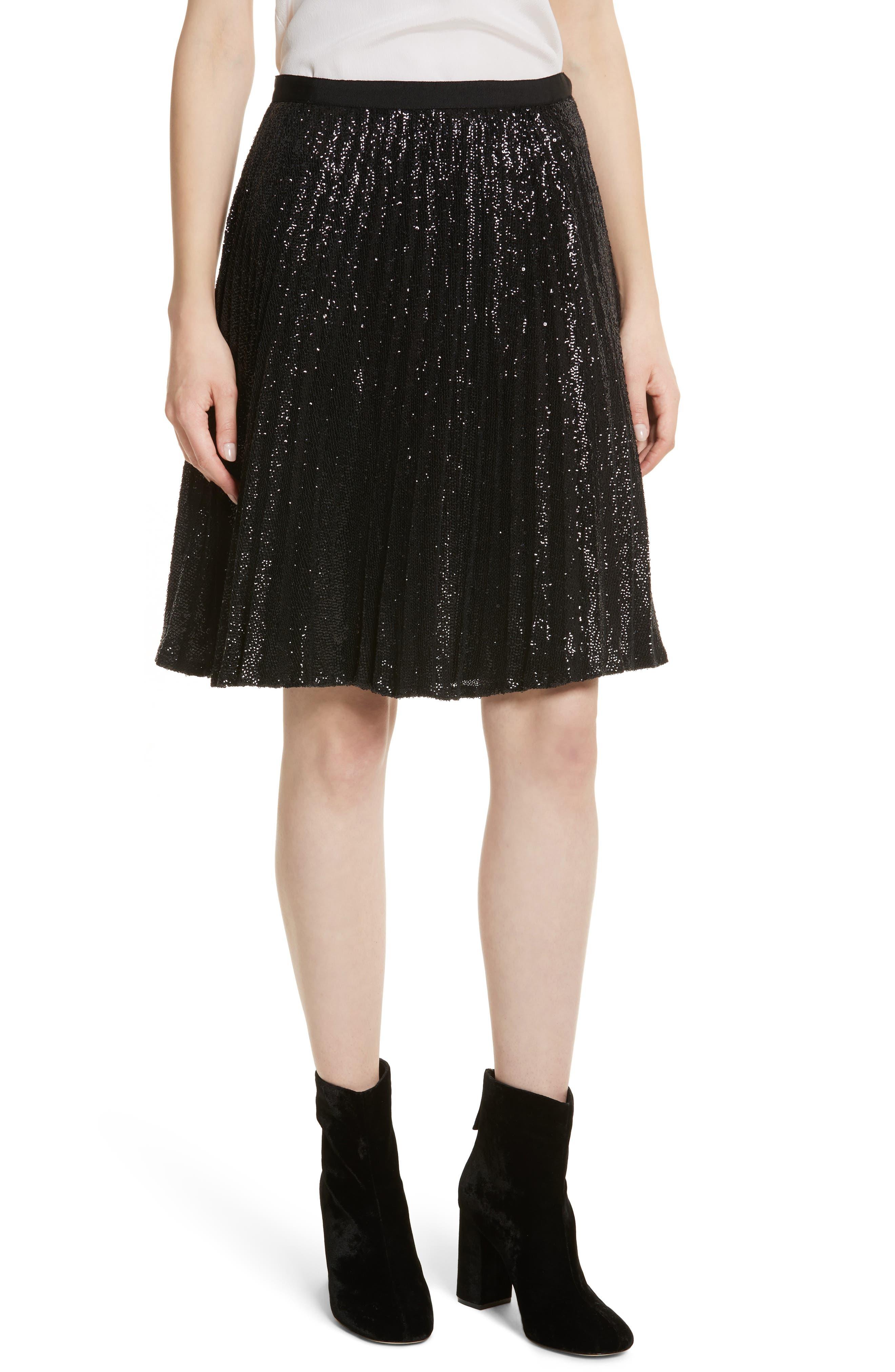 Jadian Metallic Pleat Skirt,                         Main,                         color, Caviar