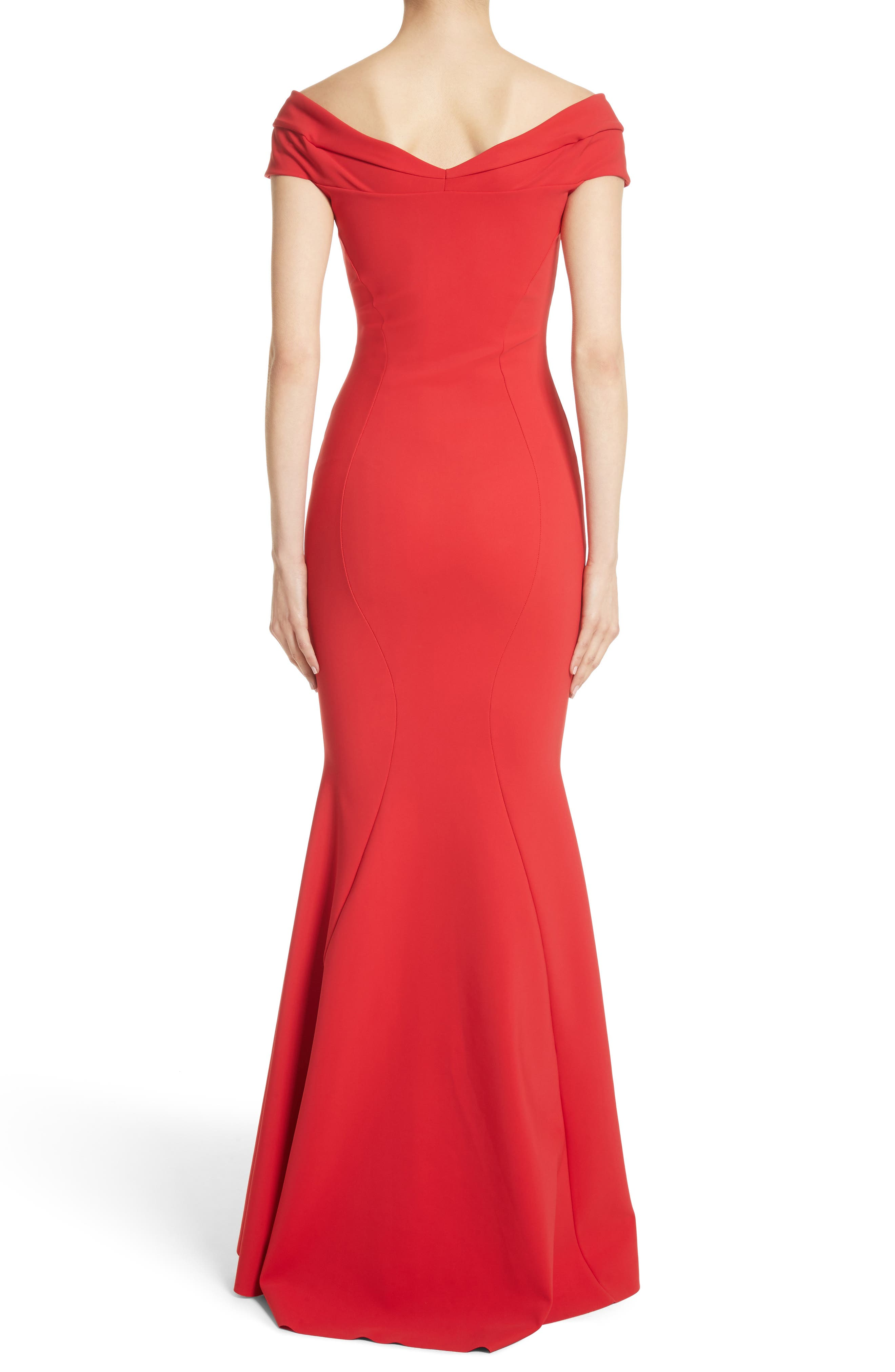 Tally Off the Shoulder Trumpet Gown,                             Alternate thumbnail 2, color,                             Passion/ Red