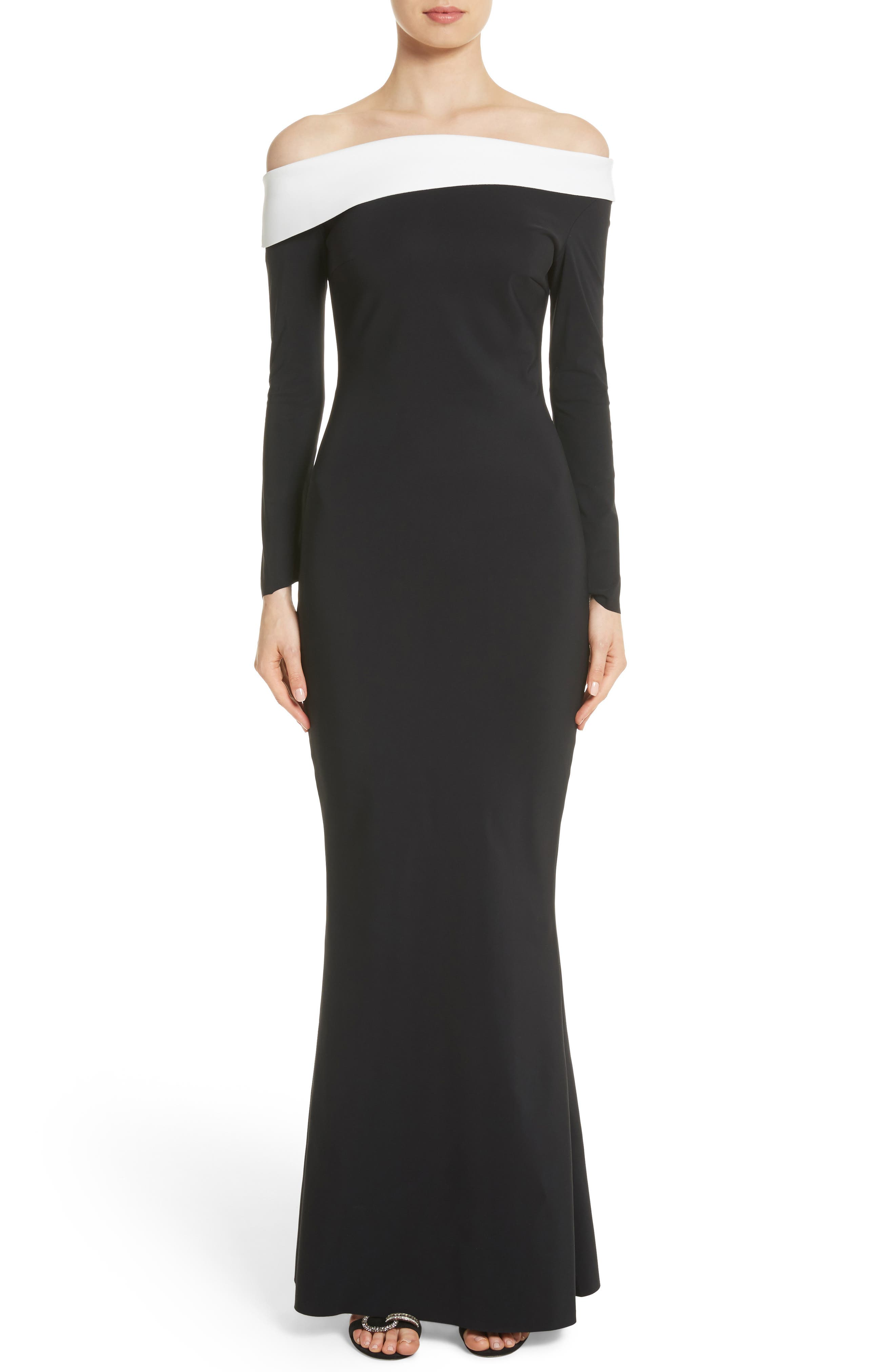 Tae Bicolor Off the Shoulder Gown,                         Main,                         color, Black/ White