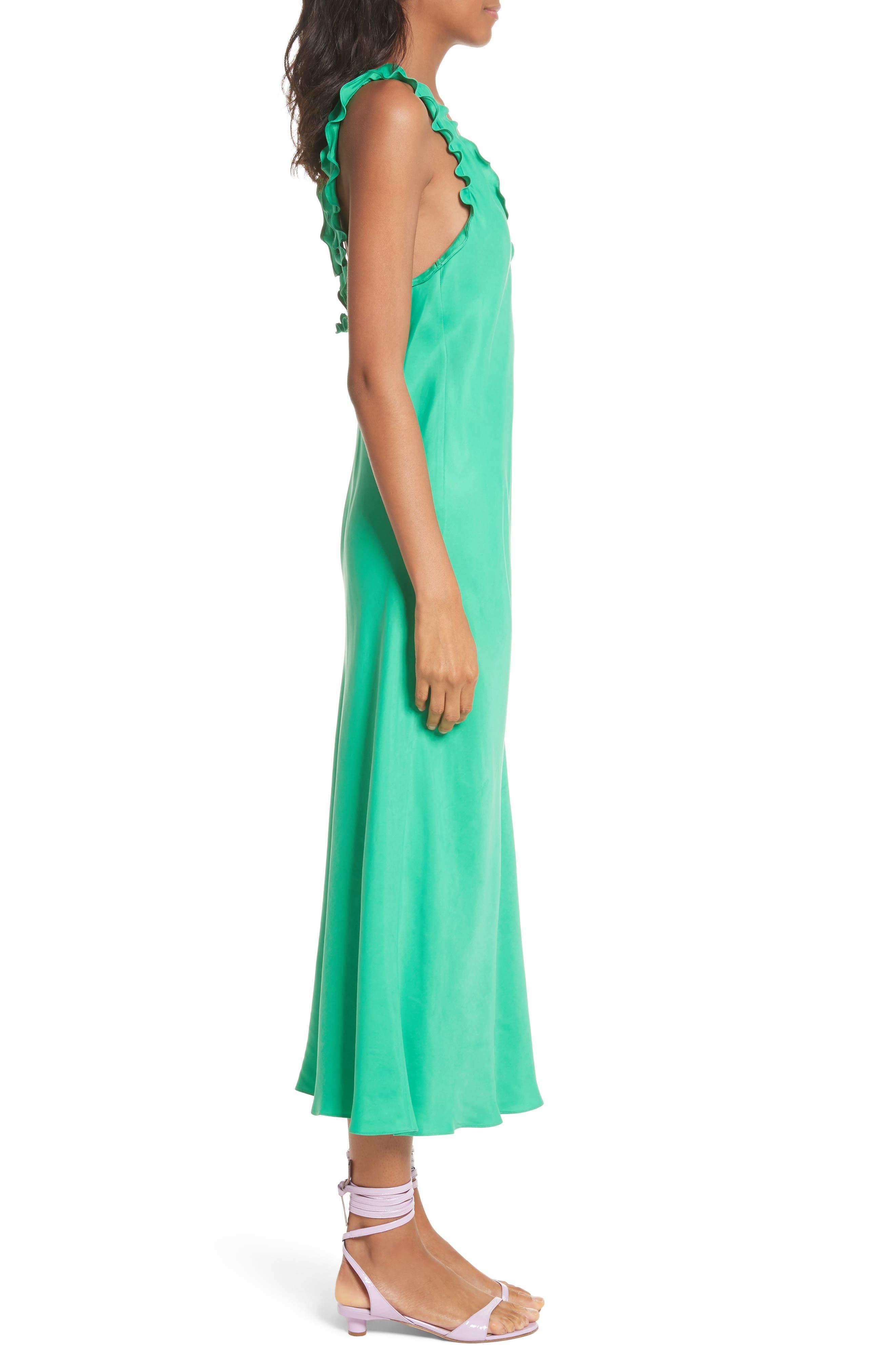 Ruffle Bias Midi Dress,                             Alternate thumbnail 3, color,                             Green