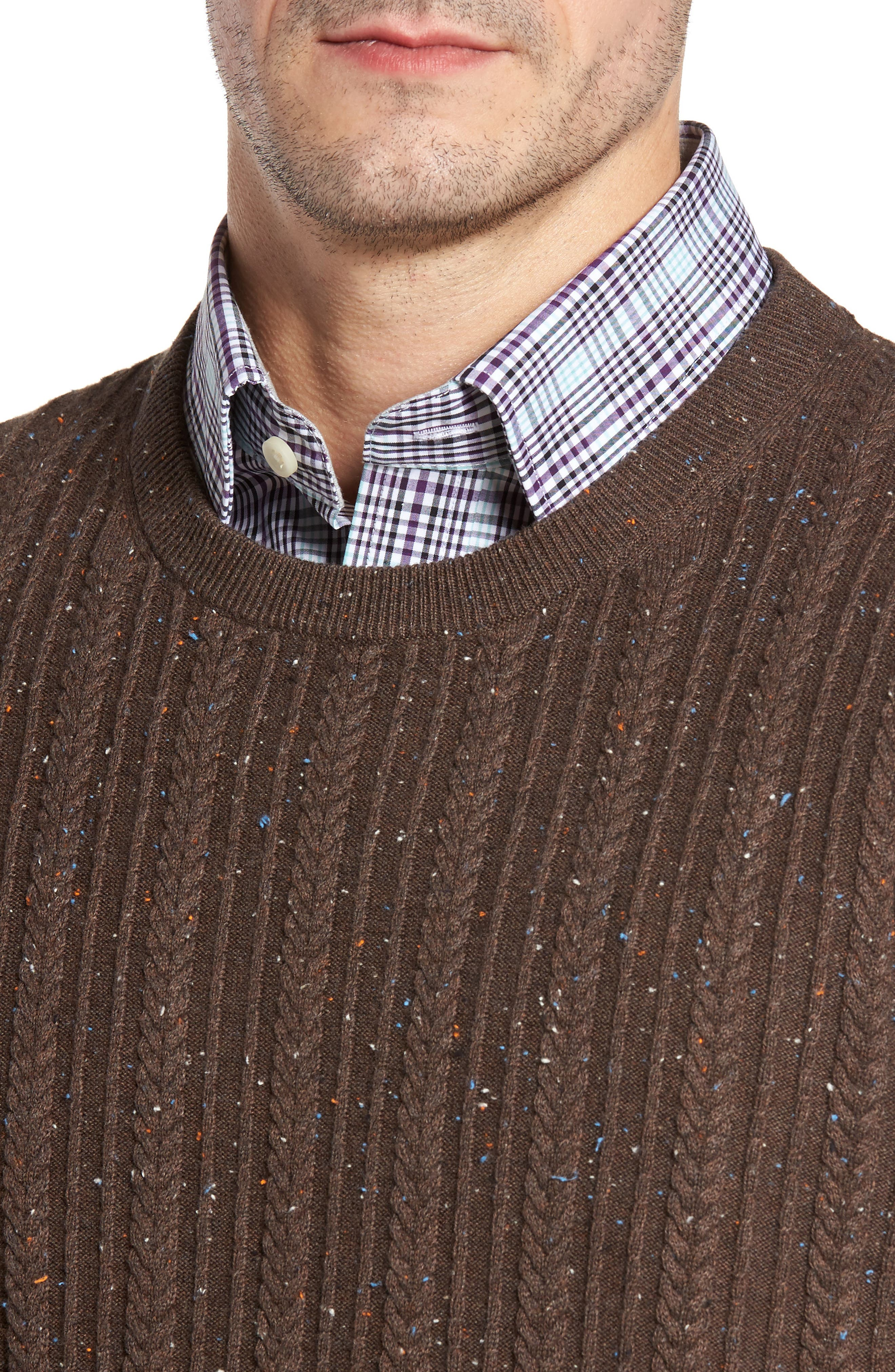 Carlton Crewneck Sweater,                             Alternate thumbnail 4, color,                             Twig