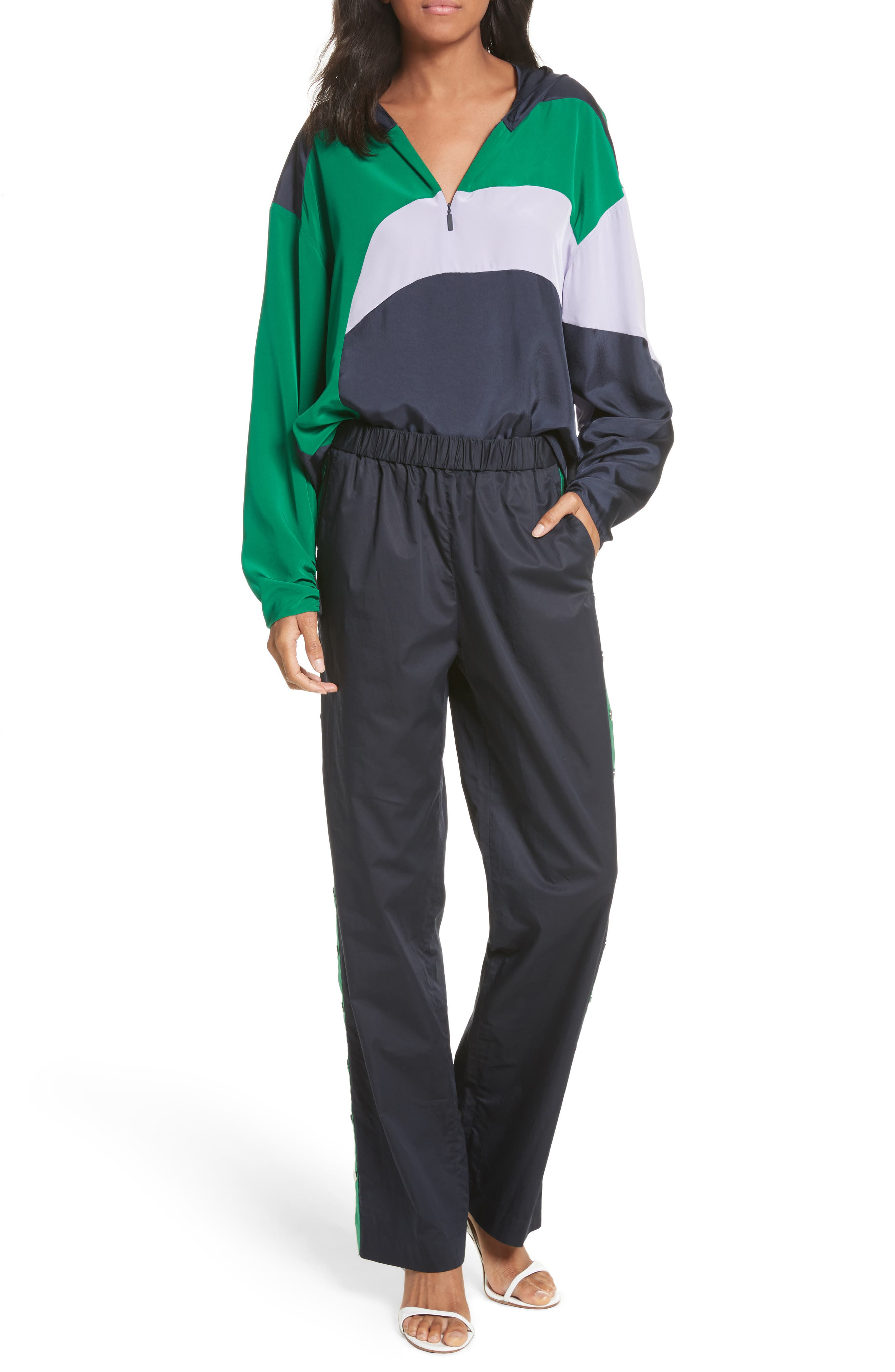 Snap Side Track Pants,                             Alternate thumbnail 6, color,                             Navy/ Green Multi